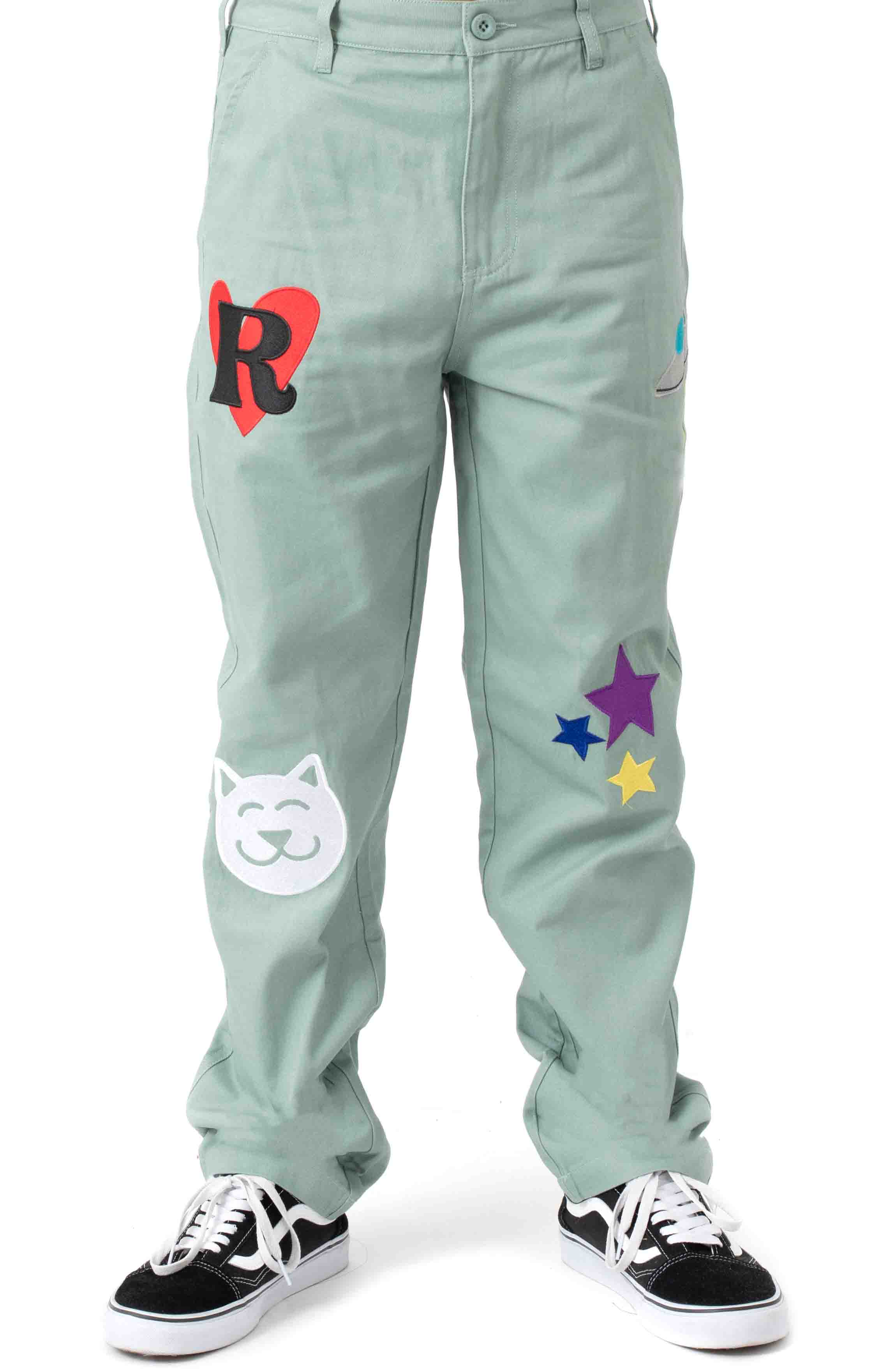 Play Date Cotton Twill Embroidered Pants - Pistacho