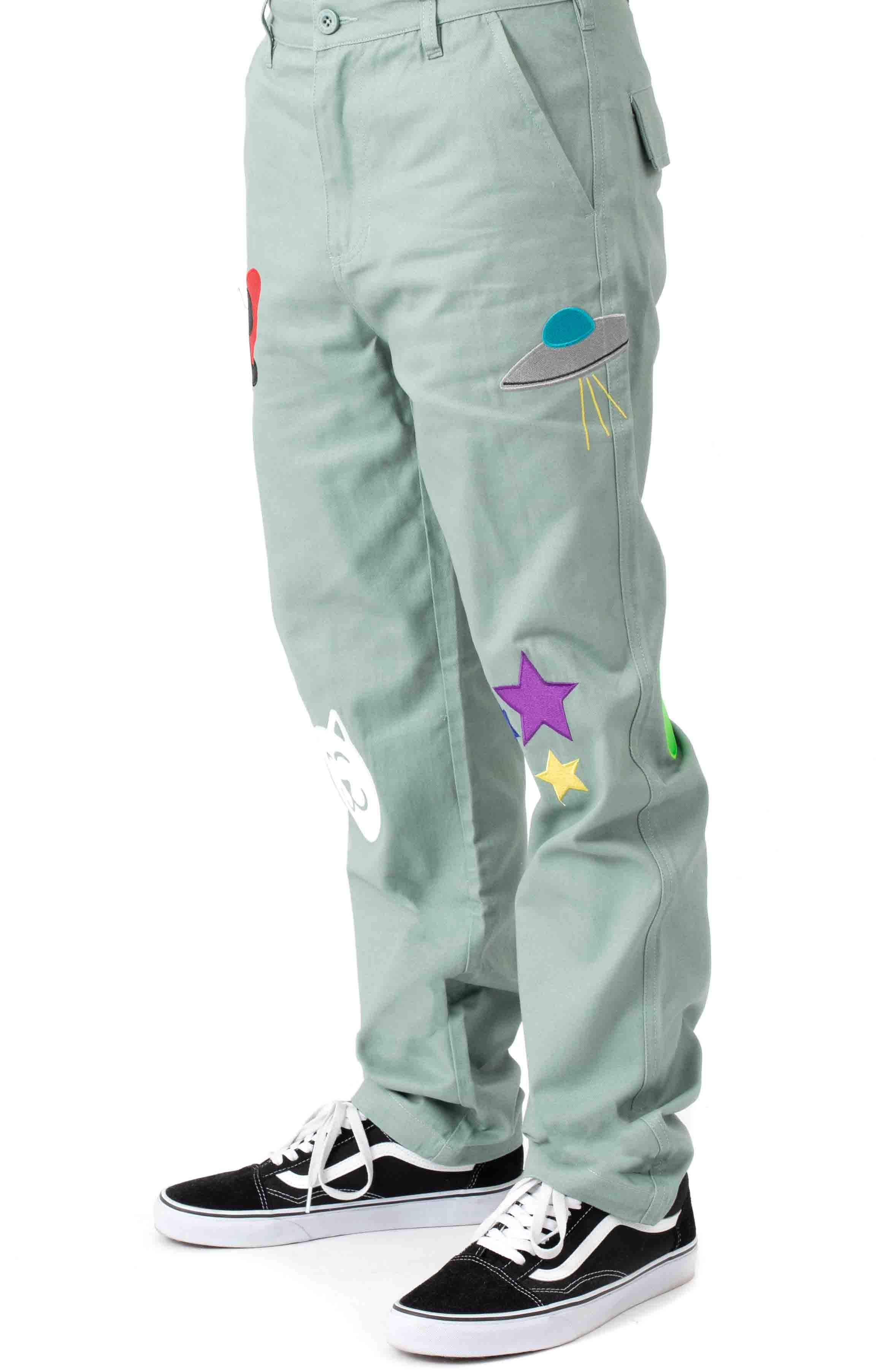 Play Date Cotton Twill Embroidered Pants - Pistacho  2