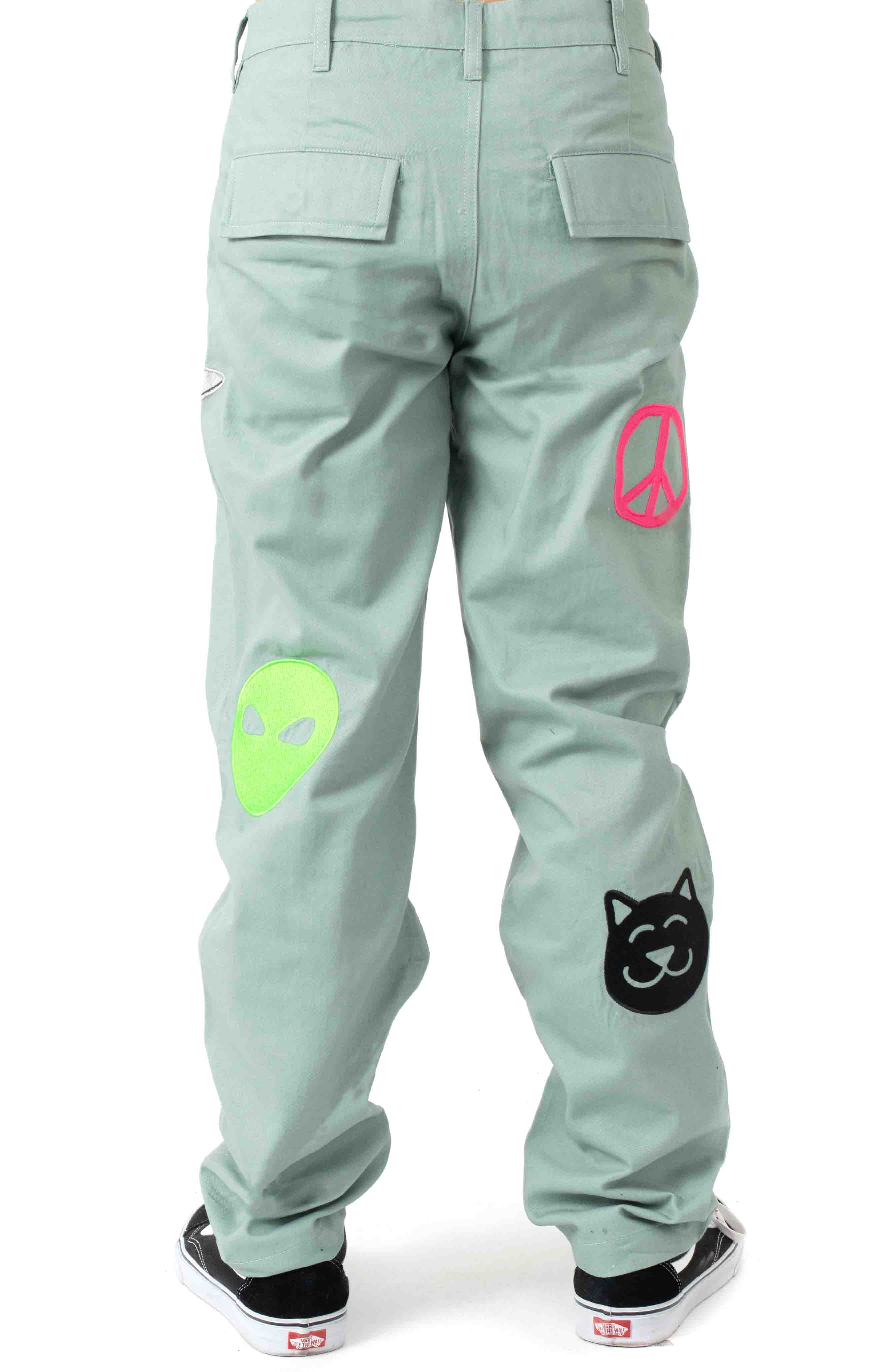 Play Date Cotton Twill Embroidered Pants - Pistacho  3