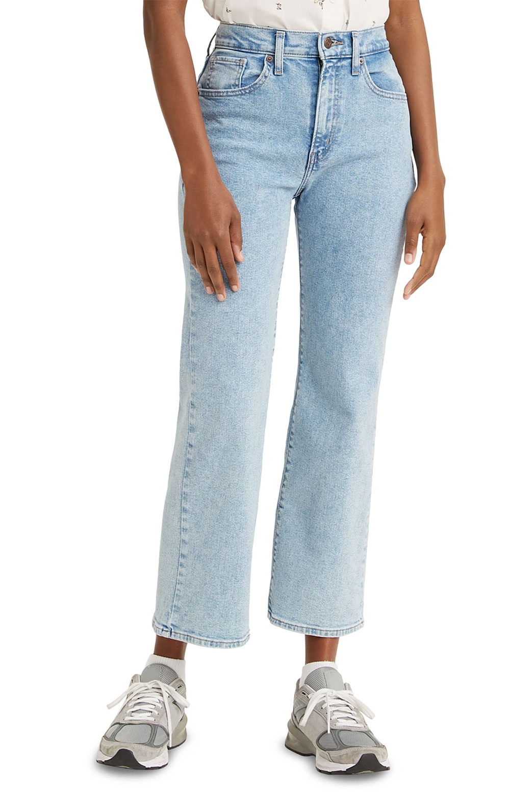 (A0967-0001) High Rise Cropped Flare Jeans - High Light/Light Wash