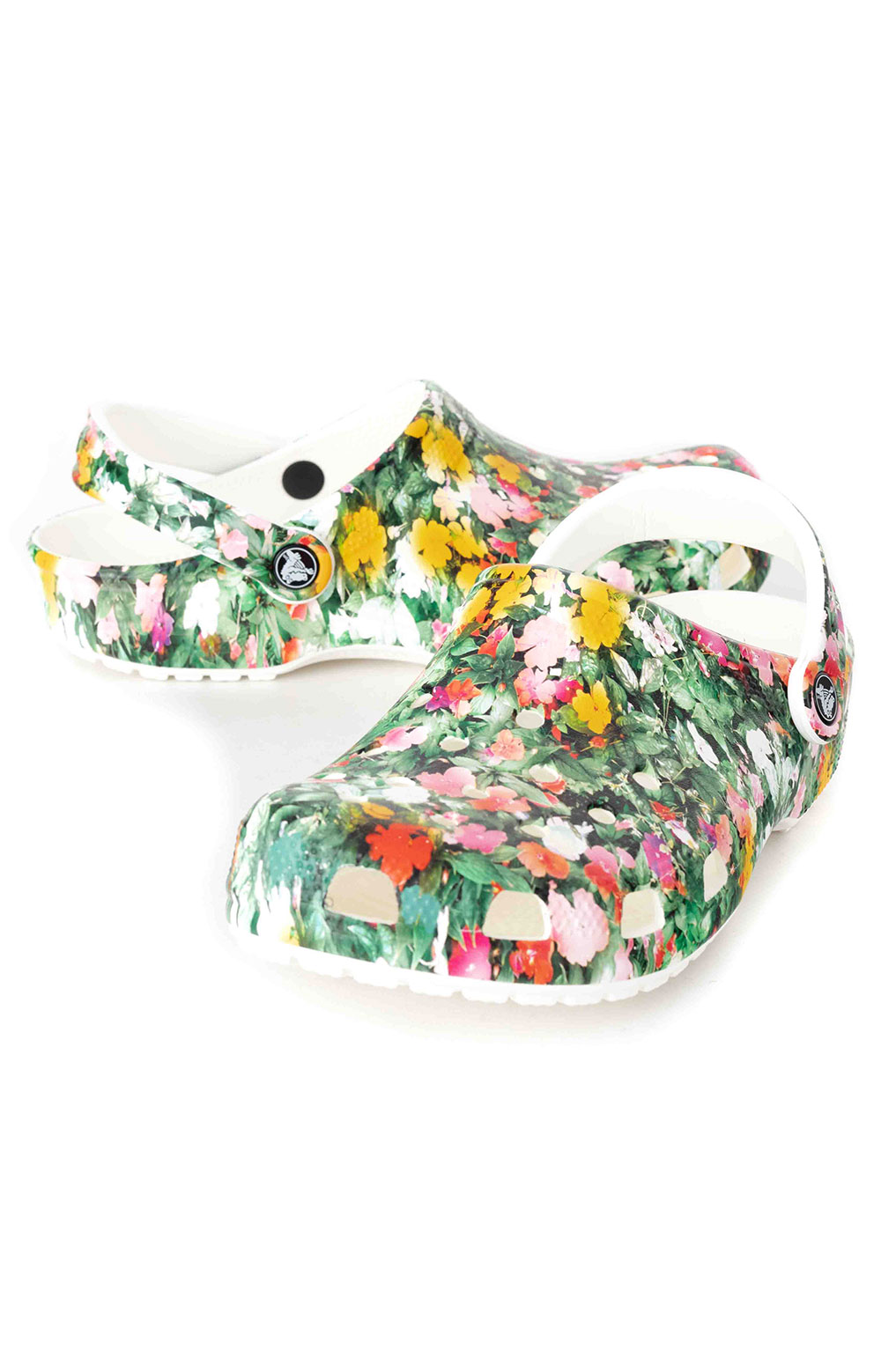 Classic Printed Floral Clogs - White/Multi 3