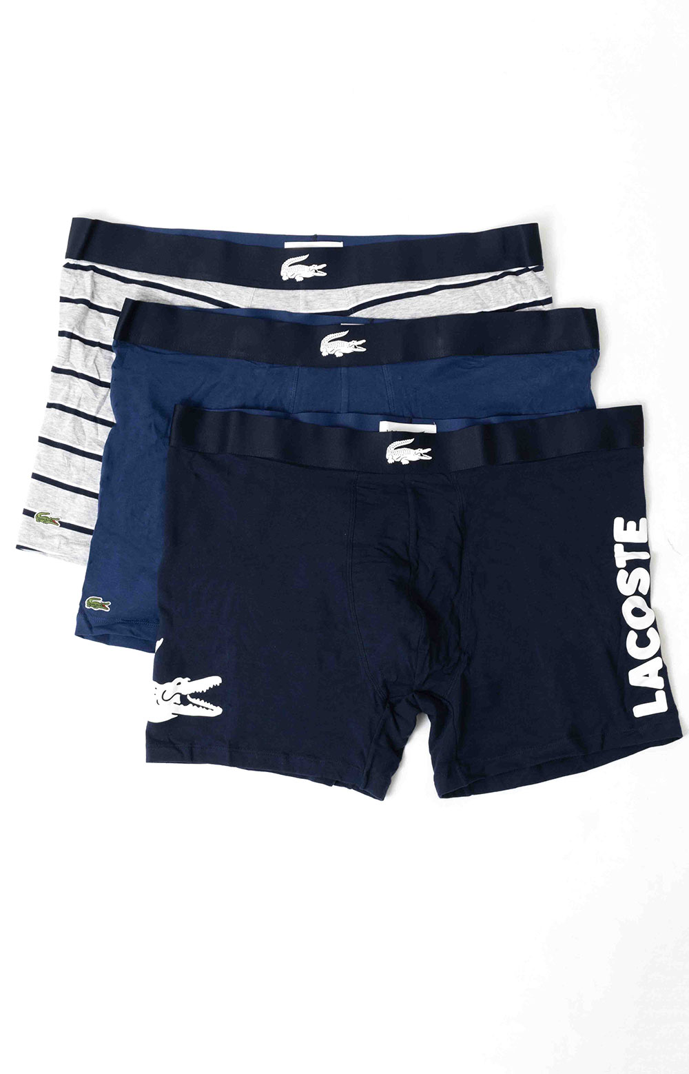 (6H9844-51) Plain and Print Cotton Boxer Brief 3-Pack - Blue/White-Silver Chine