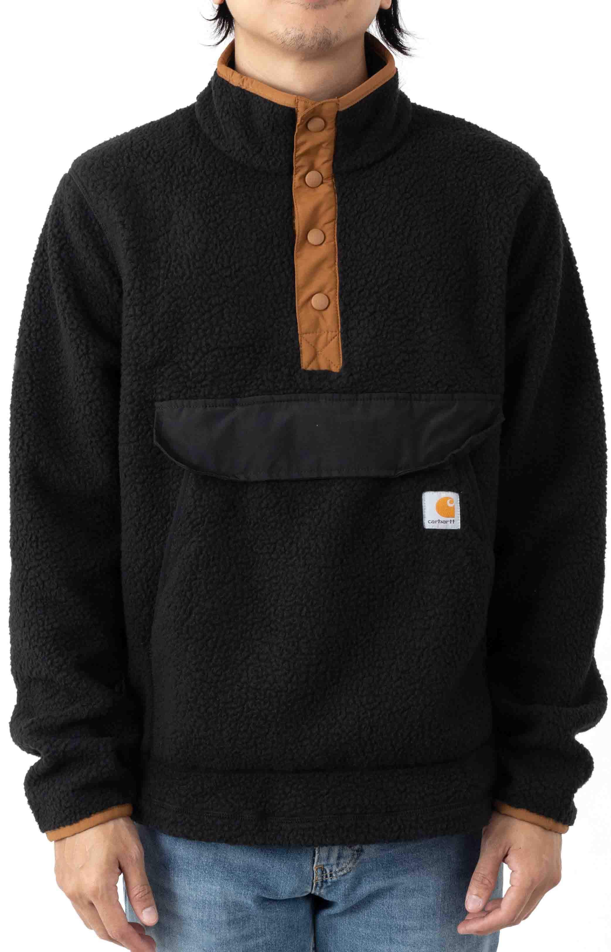 (104991) Relaxed Fit Fleece Snap Front Jacket - Black