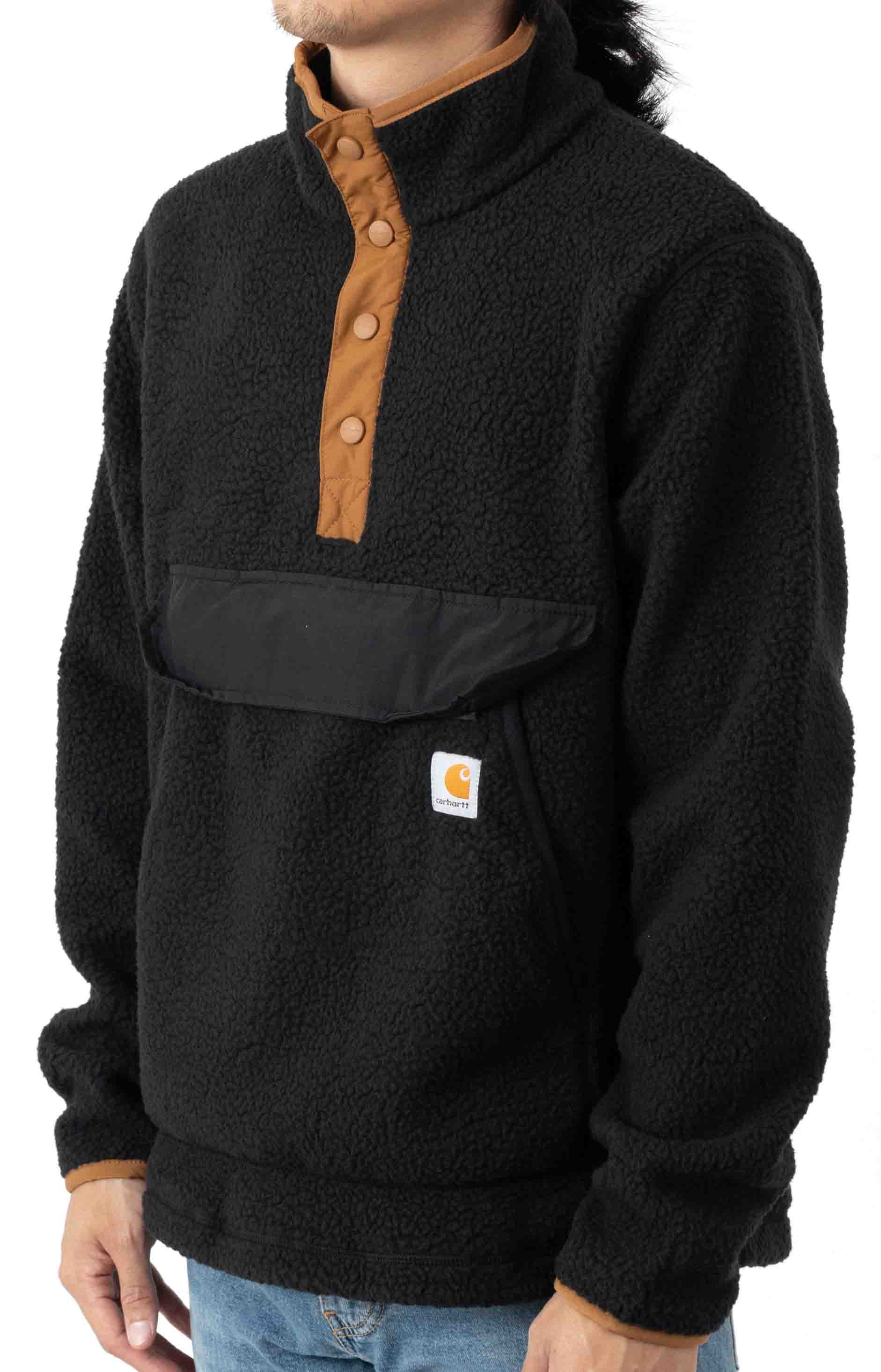 (104991) Relaxed Fit Fleece Snap Front Jacket - Black 2