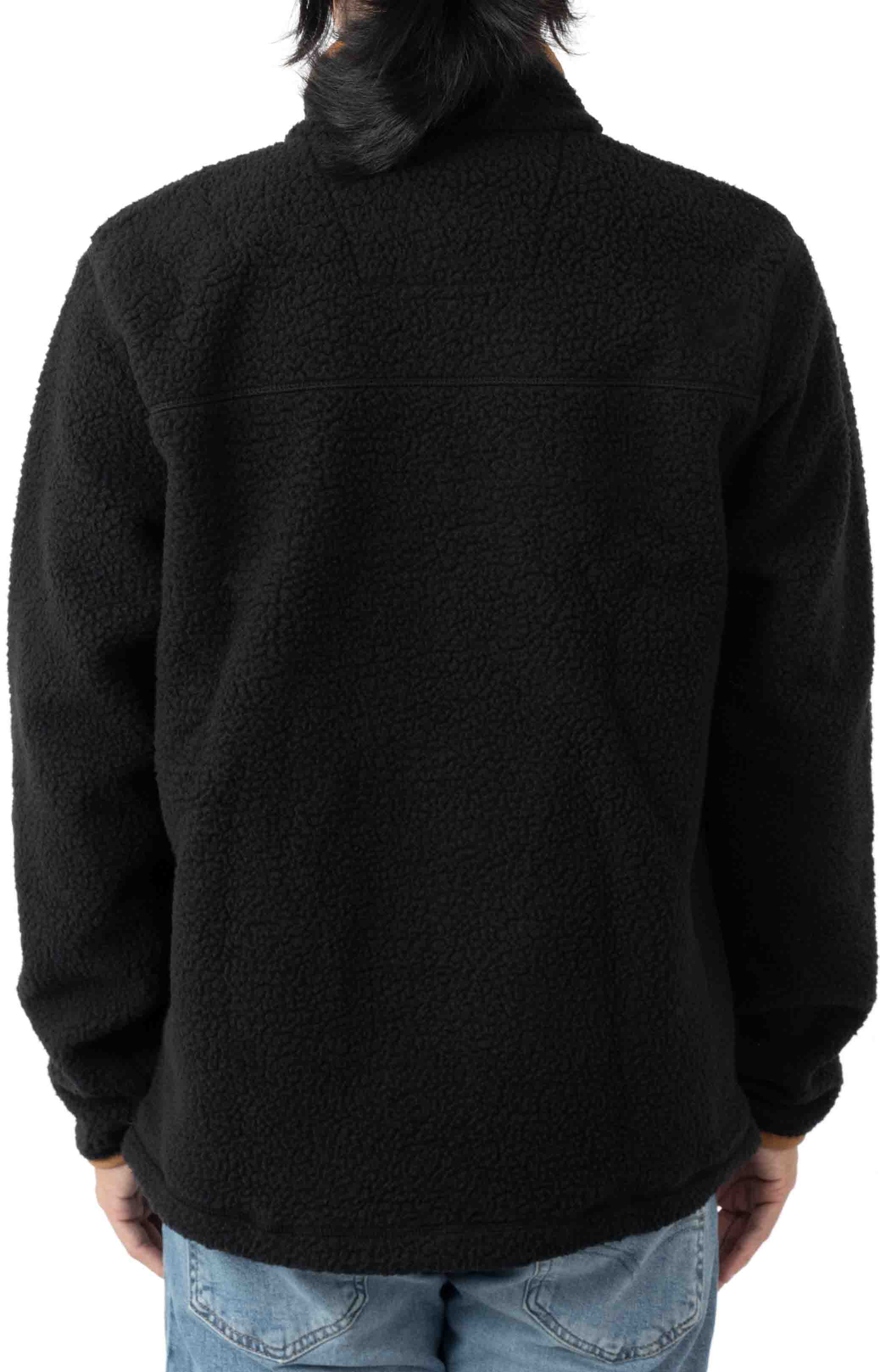 (104991) Relaxed Fit Fleece Snap Front Jacket - Black 3