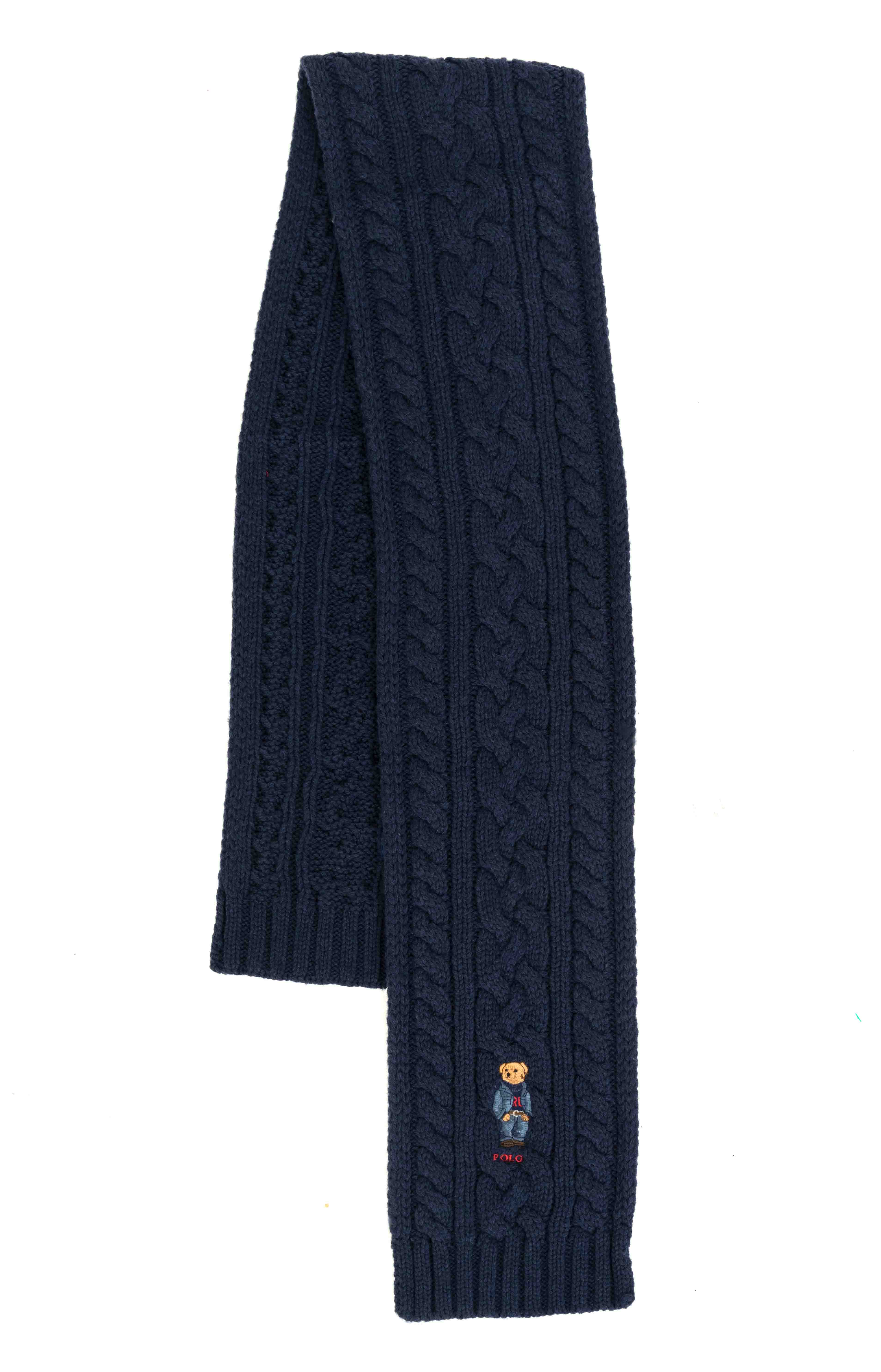 Recycled Cable Bear Scarf - Norfolk Blue