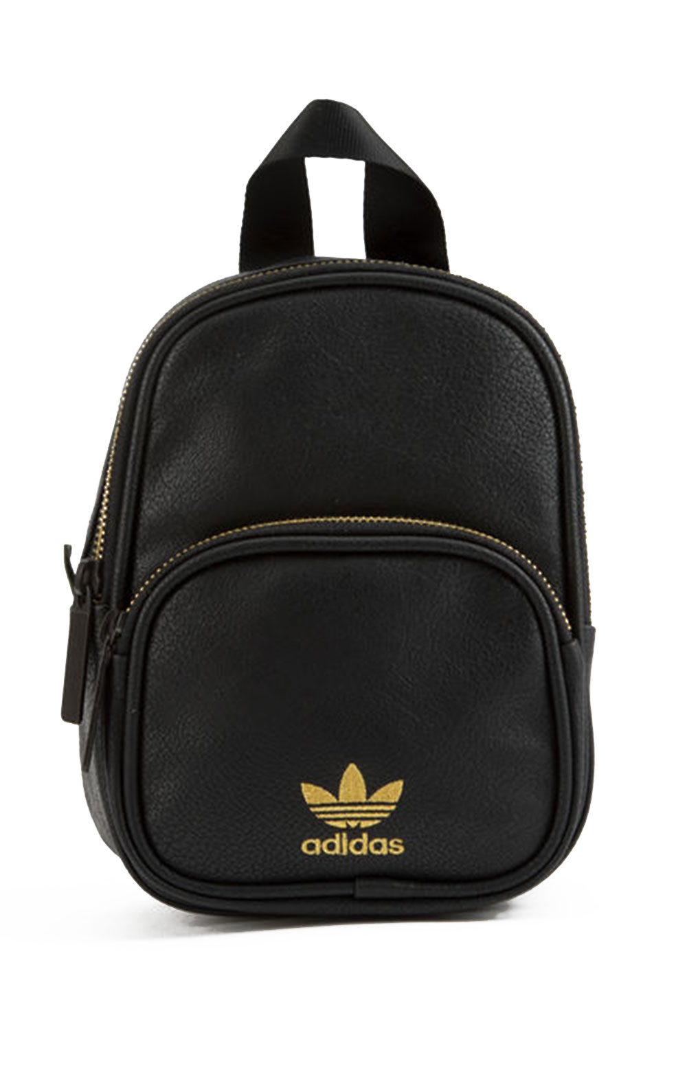 Mini PU Leather Backpack - Black/Gold