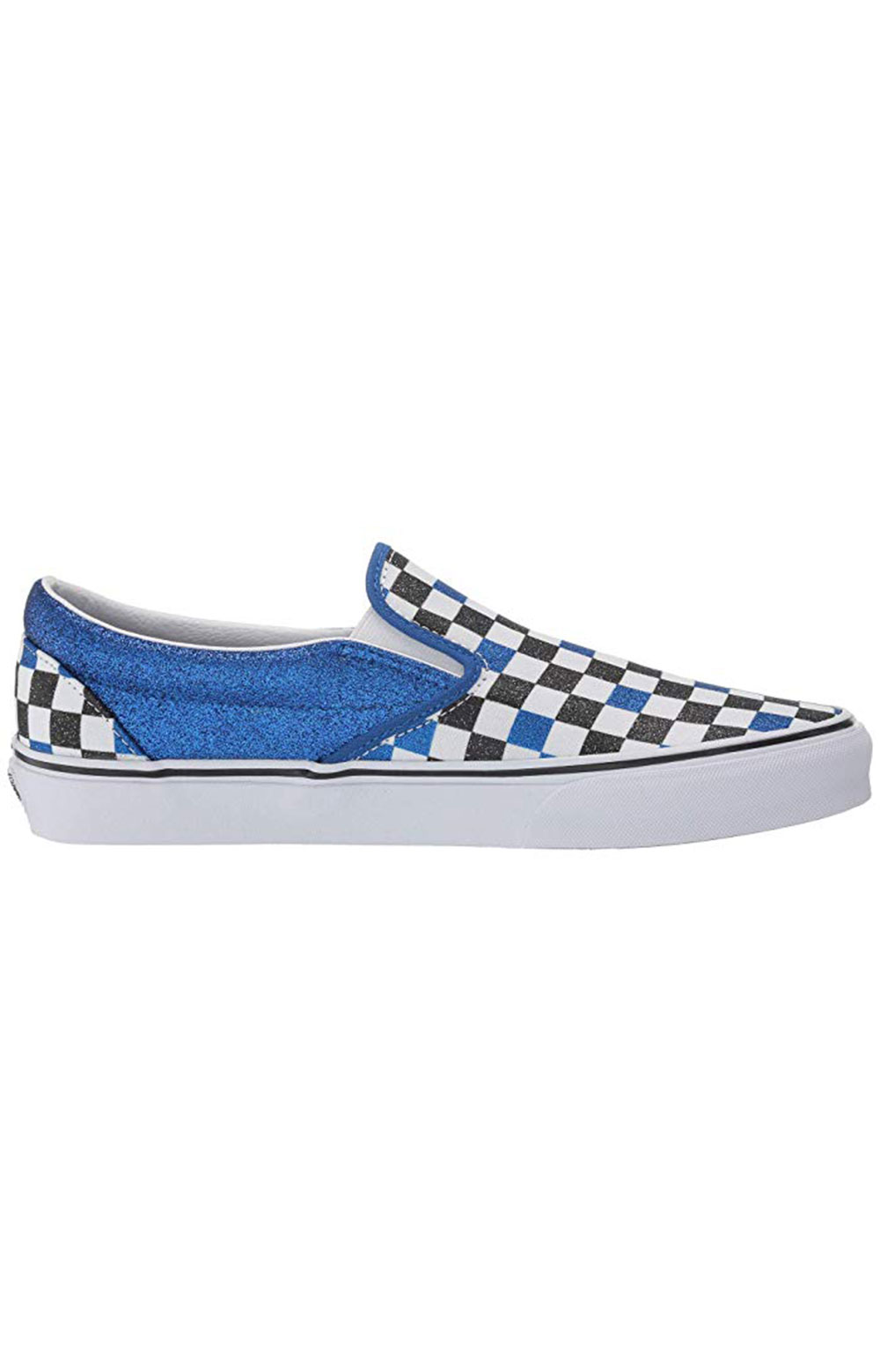 (BV3V8Z) Glitter Checkerboard Classic Slip-On Shoe - Princess Blue