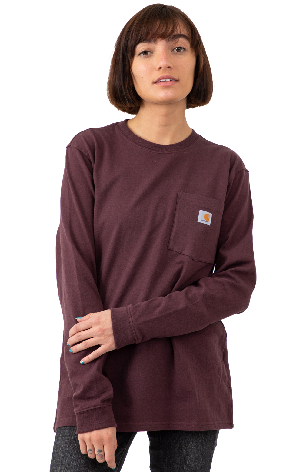 (103244) WK126 Workwear Pocket L/S Shirt - Deep Wine