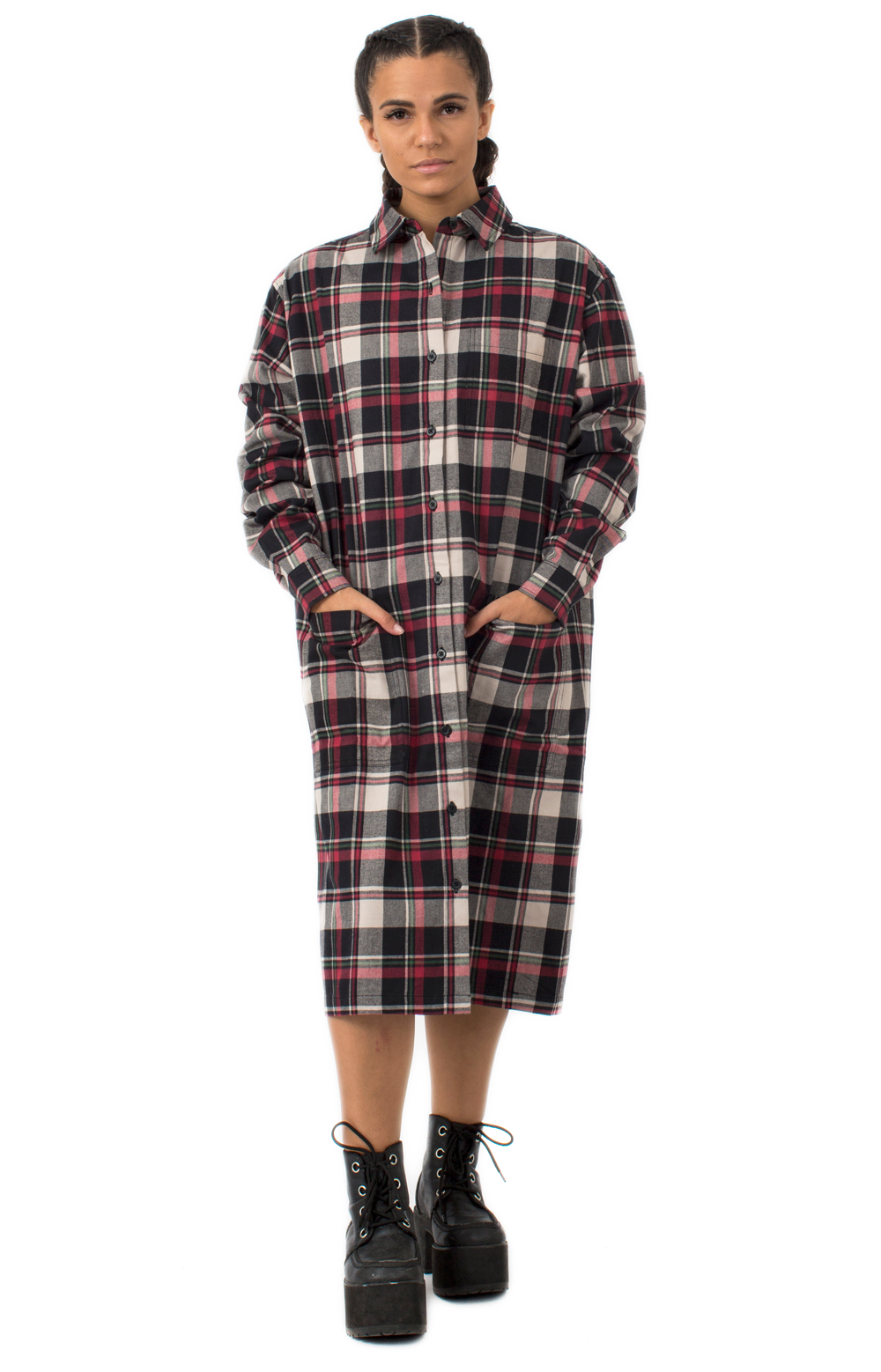 Oversize Flannel Shirt Dress