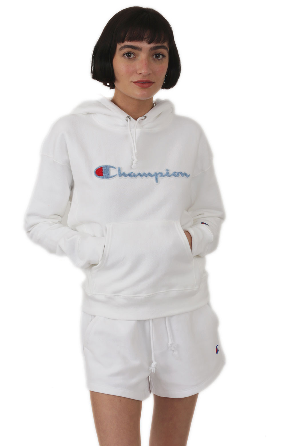 Reverse Weave Chenille Script Pullover Hoodie - White