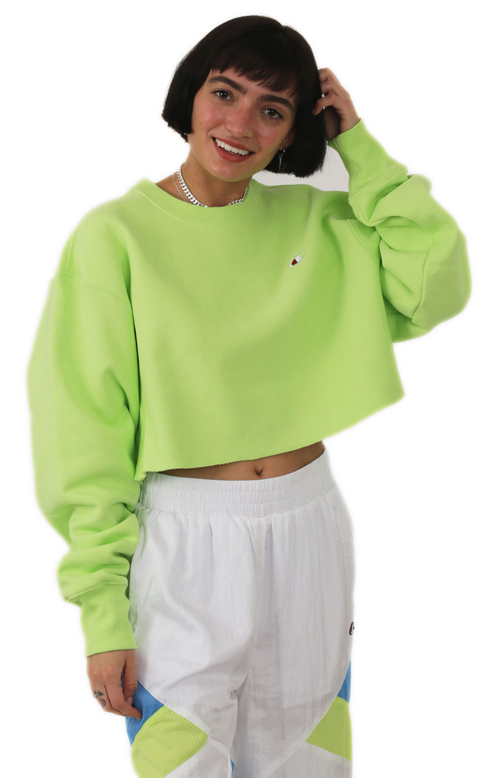 Reverse Weave Cropped Cut Off Crewneck - Chilled Mint Green