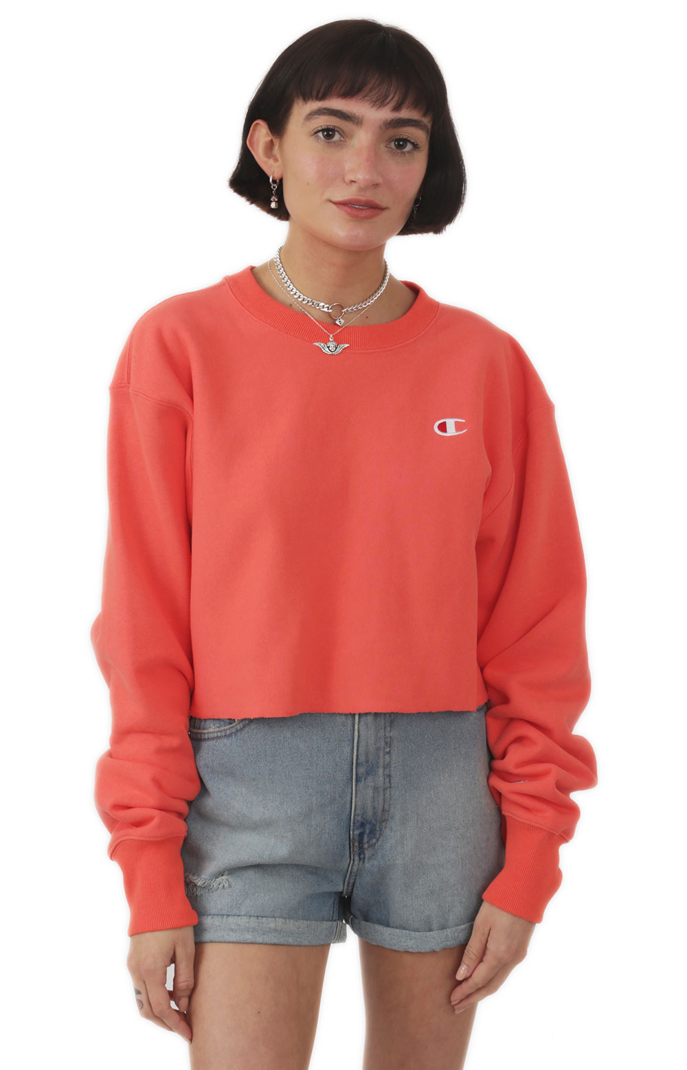 Reverse Weave Cropped Cut Off Crewneck - Groovy Papaya 1