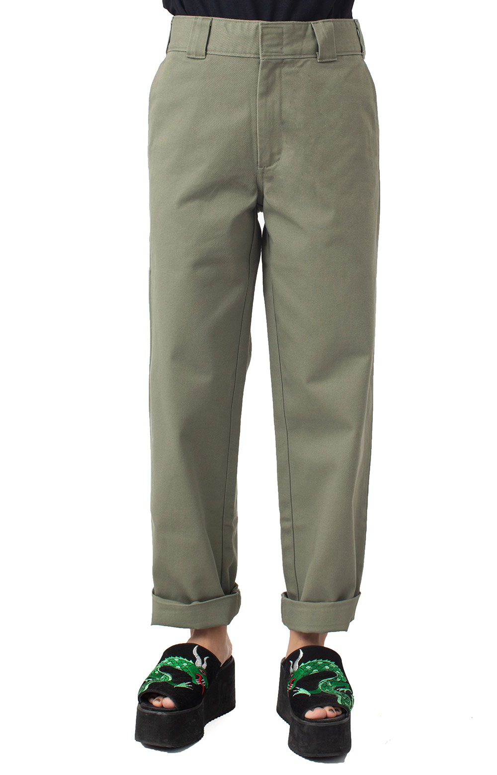Work Crop Roll Hem Relaxed Fit Pant - Olive 3