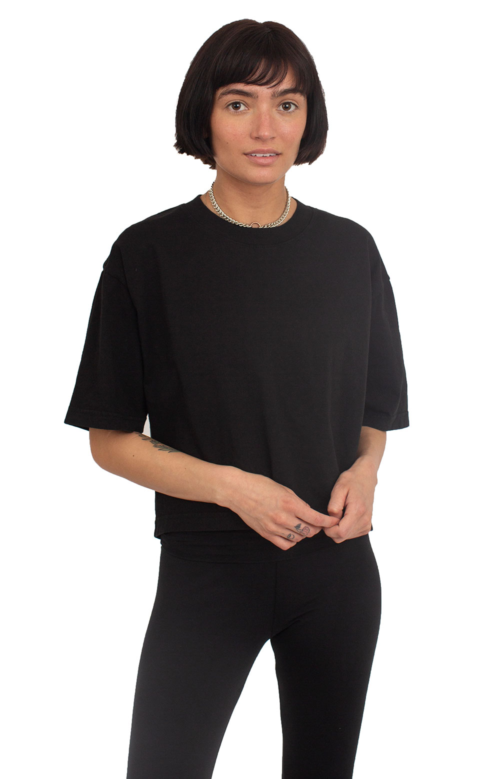 Oversized Crop T-Shirt - Black