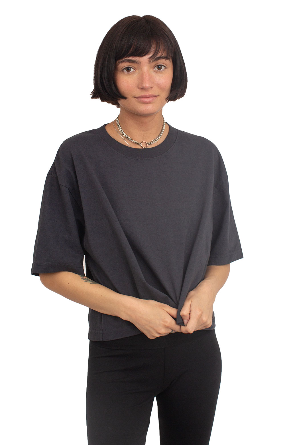 Oversized Crop T-Shirt - Dolphin Blue