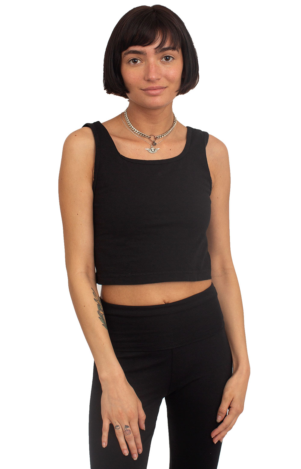 Garment Dye Crop Tank - Black