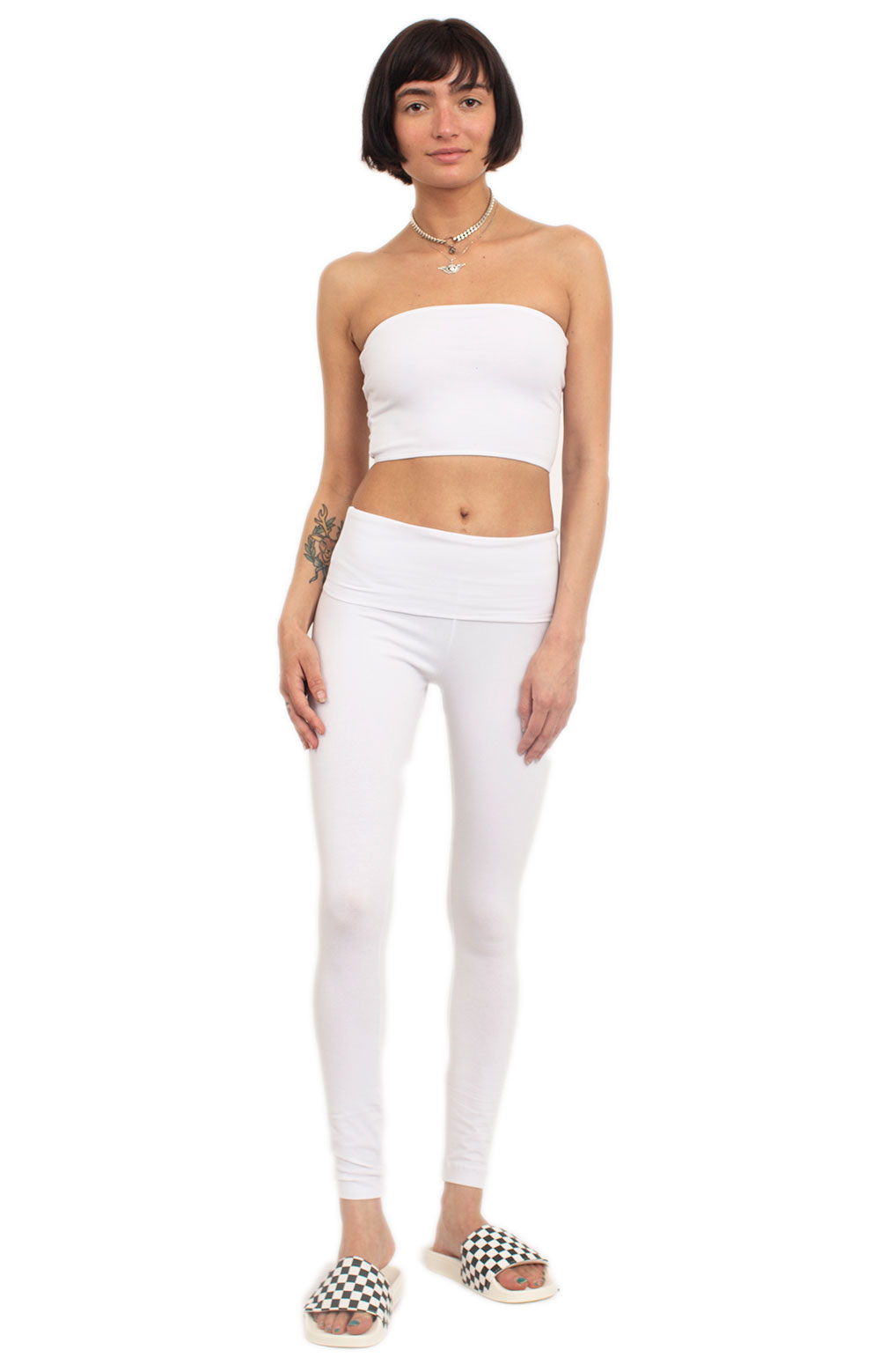 Cotton Spandex Tube Crop Top - White