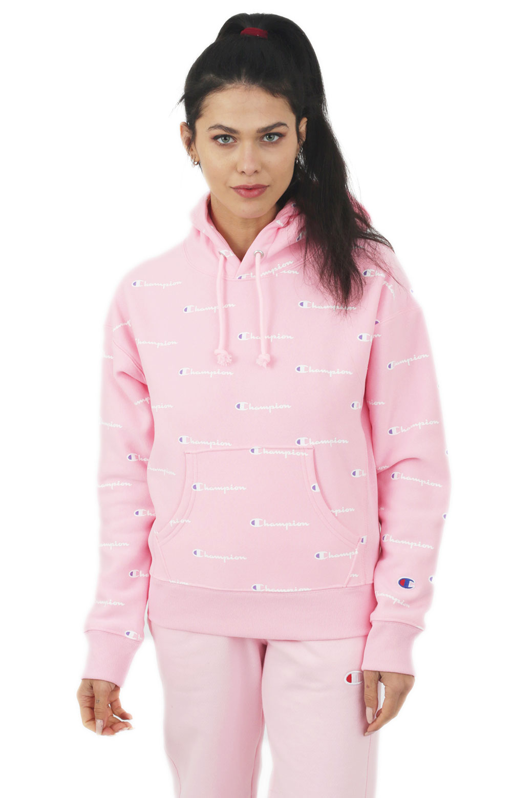 Reverse Weave A/O Script Pullover Hoodie - Pink Candy