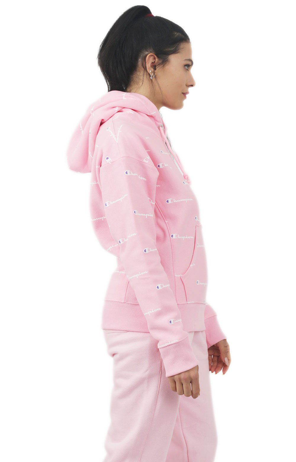 Reverse Weave A/O Script Pullover Hoodie - Pink Candy  2