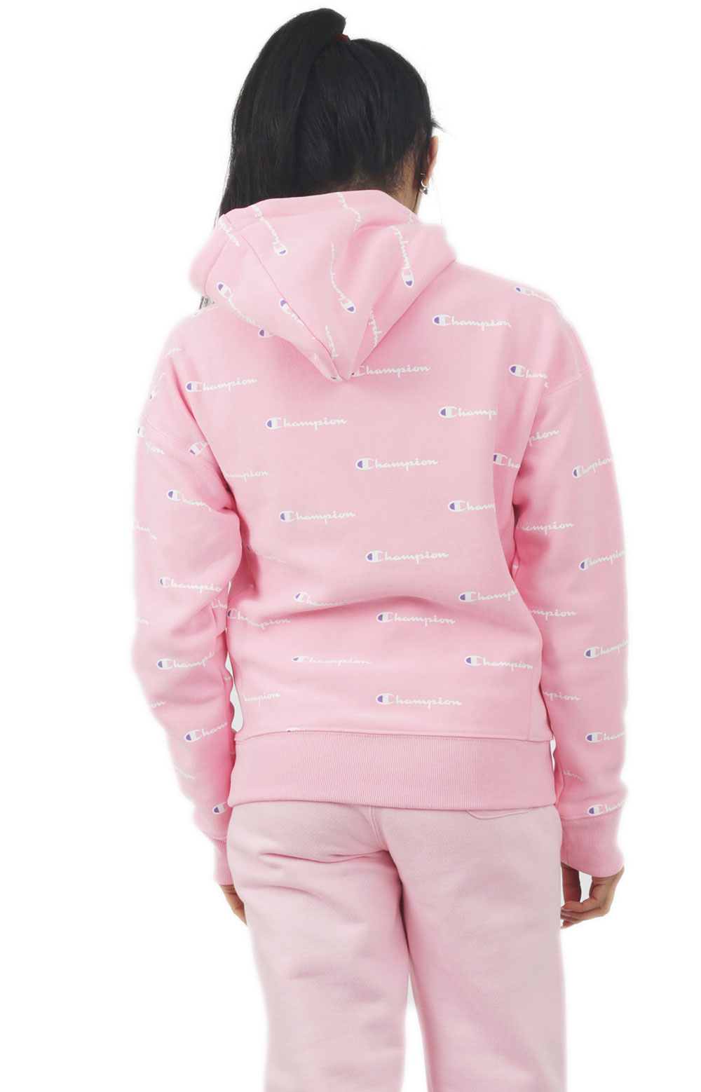 Reverse Weave A/O Script Pullover Hoodie - Pink Candy  3