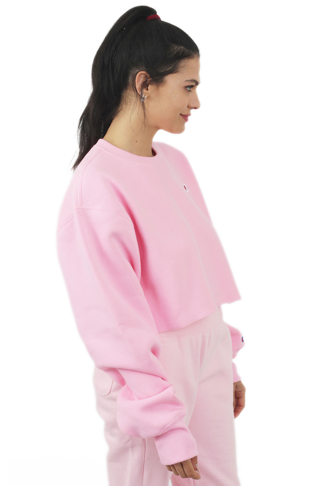 Reverse Weave Cropped Cut Off Crewneck - Pink Candy  2