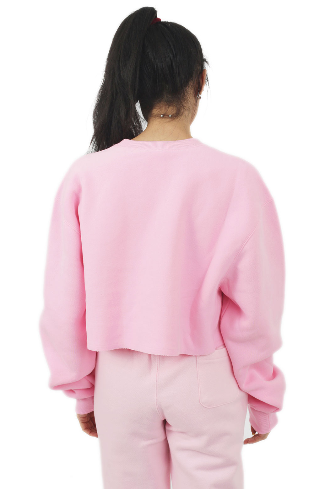Reverse Weave Cropped Cut Off Crewneck - Pink Candy  3
