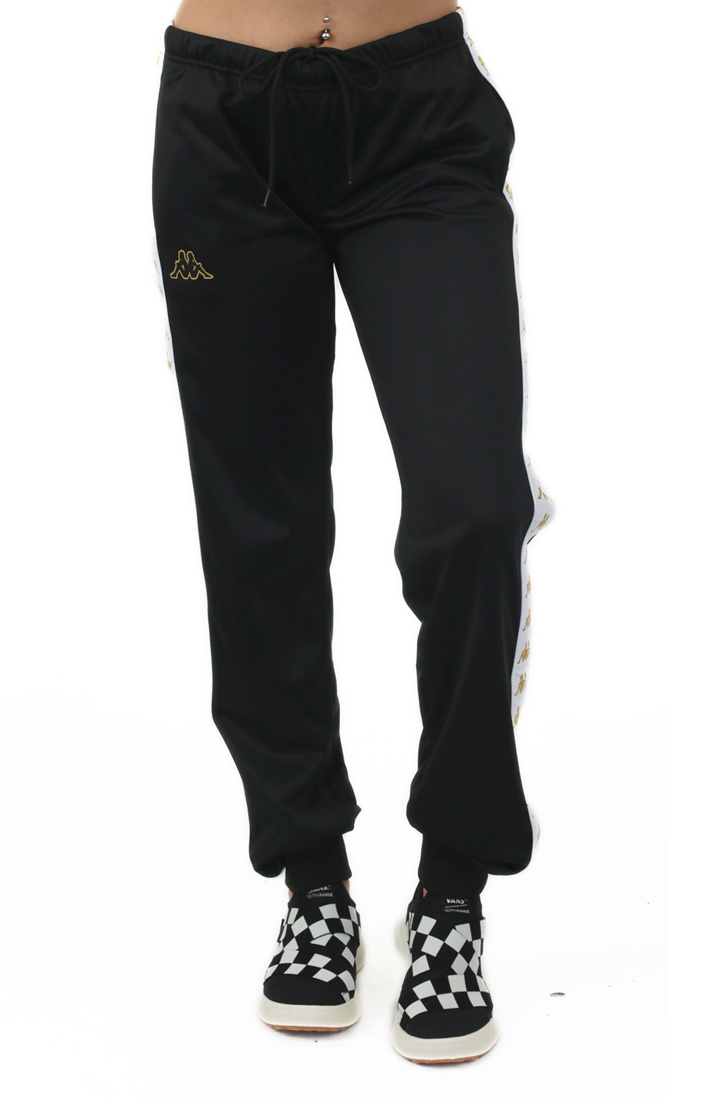 222 Banda Wrastoria Slim Track Pants - Black/White/Gold