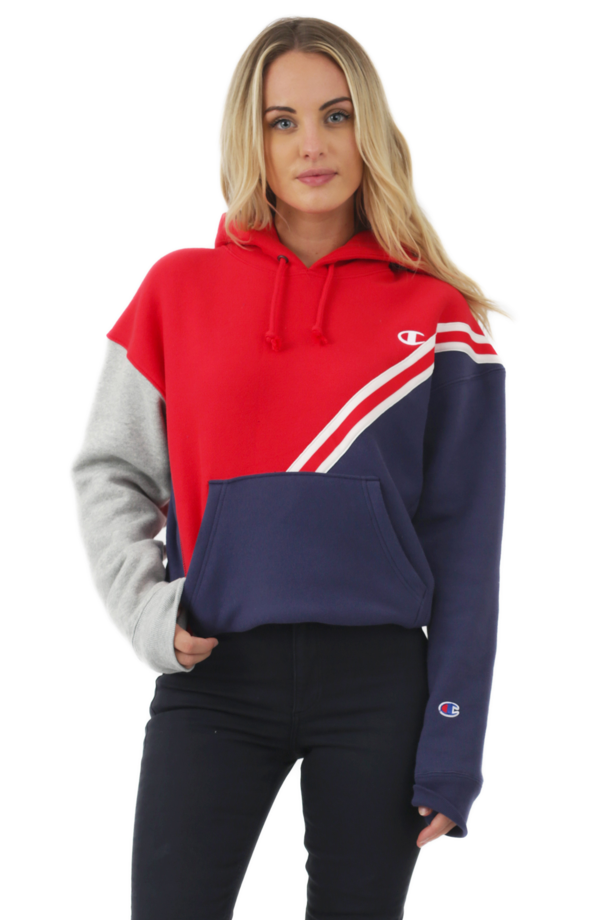 Reverse Weave Colorblock Pullover Hoodie - Red Spark Indigo Oxford Grey 54b3ab6eb963