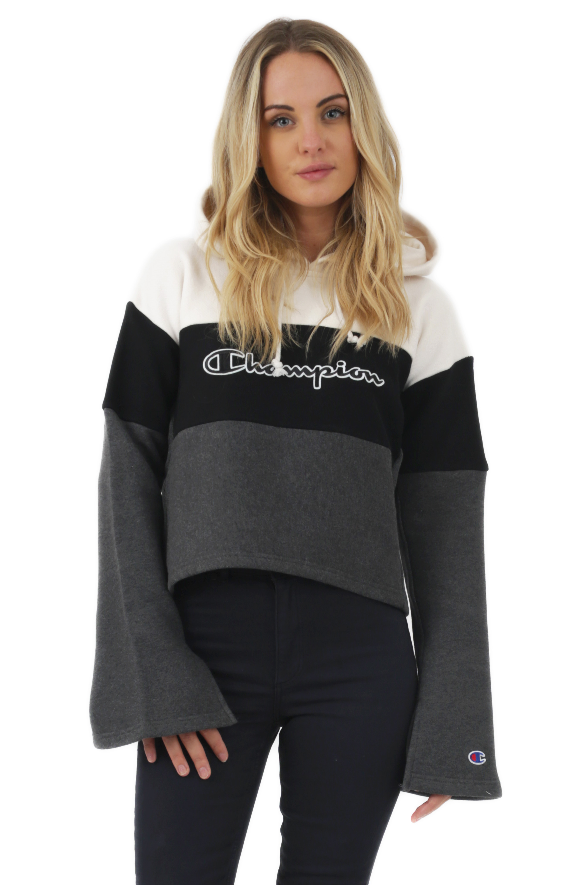 Reverse Weave Cropped Colorblock Pullover Hoodie - Quartz Cream/Black/Granite