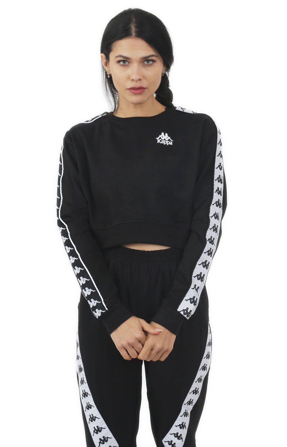 222 Banda Ays Alternating Banda Sweatshirt - Black/White