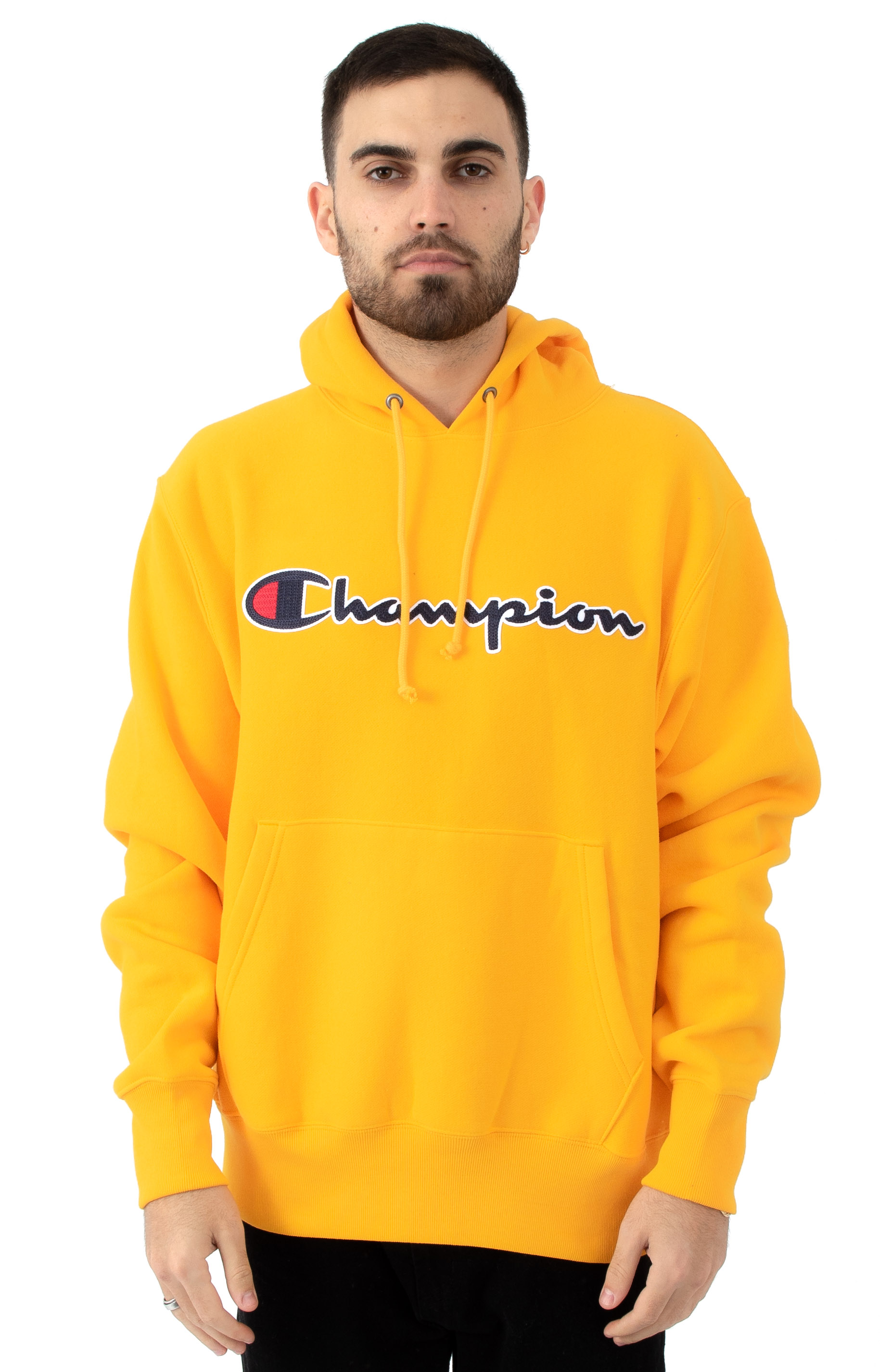 Reverse Weave Chainstitch Script Pullover Hoodie - C Gold