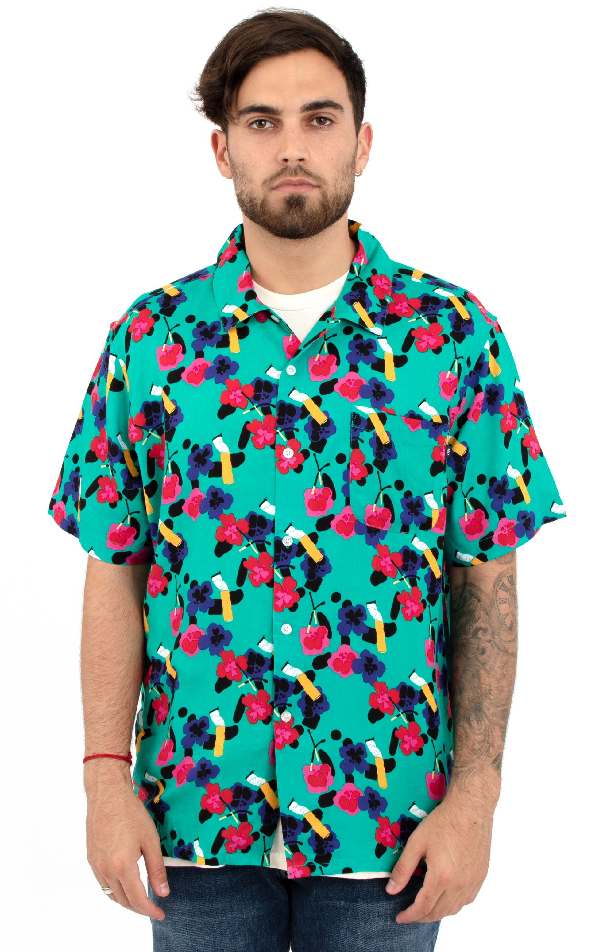 Ashed Out S/S Button-Up Shirt - Teal Multi