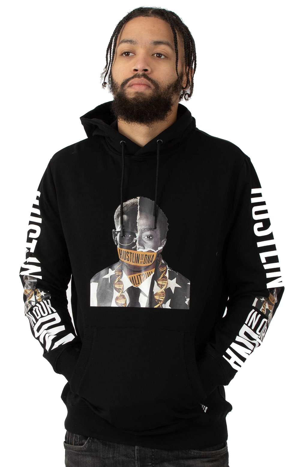 Hustlin In My DNA Pullover Hoodie - Black