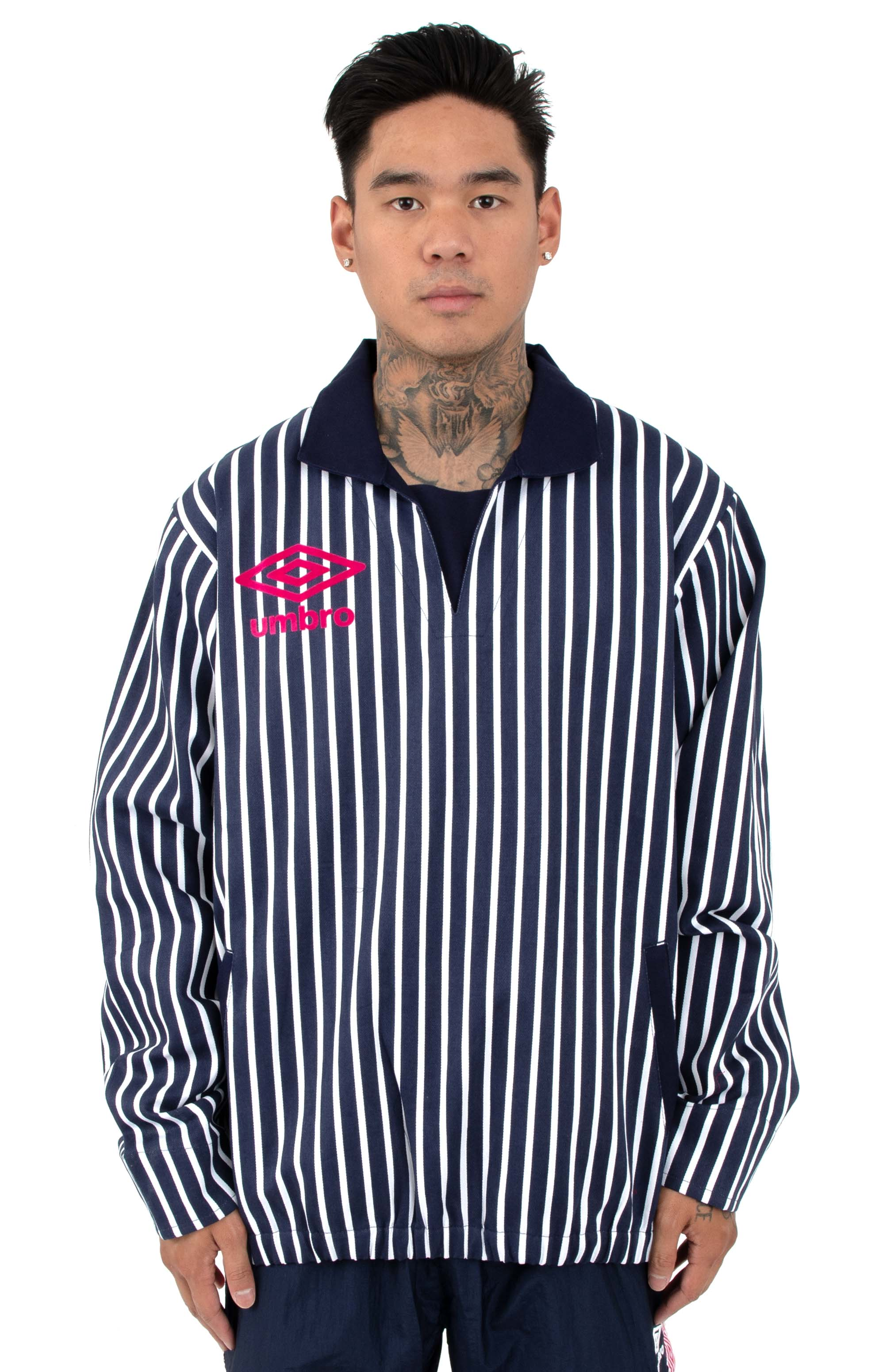 Drill Top - Navy/White