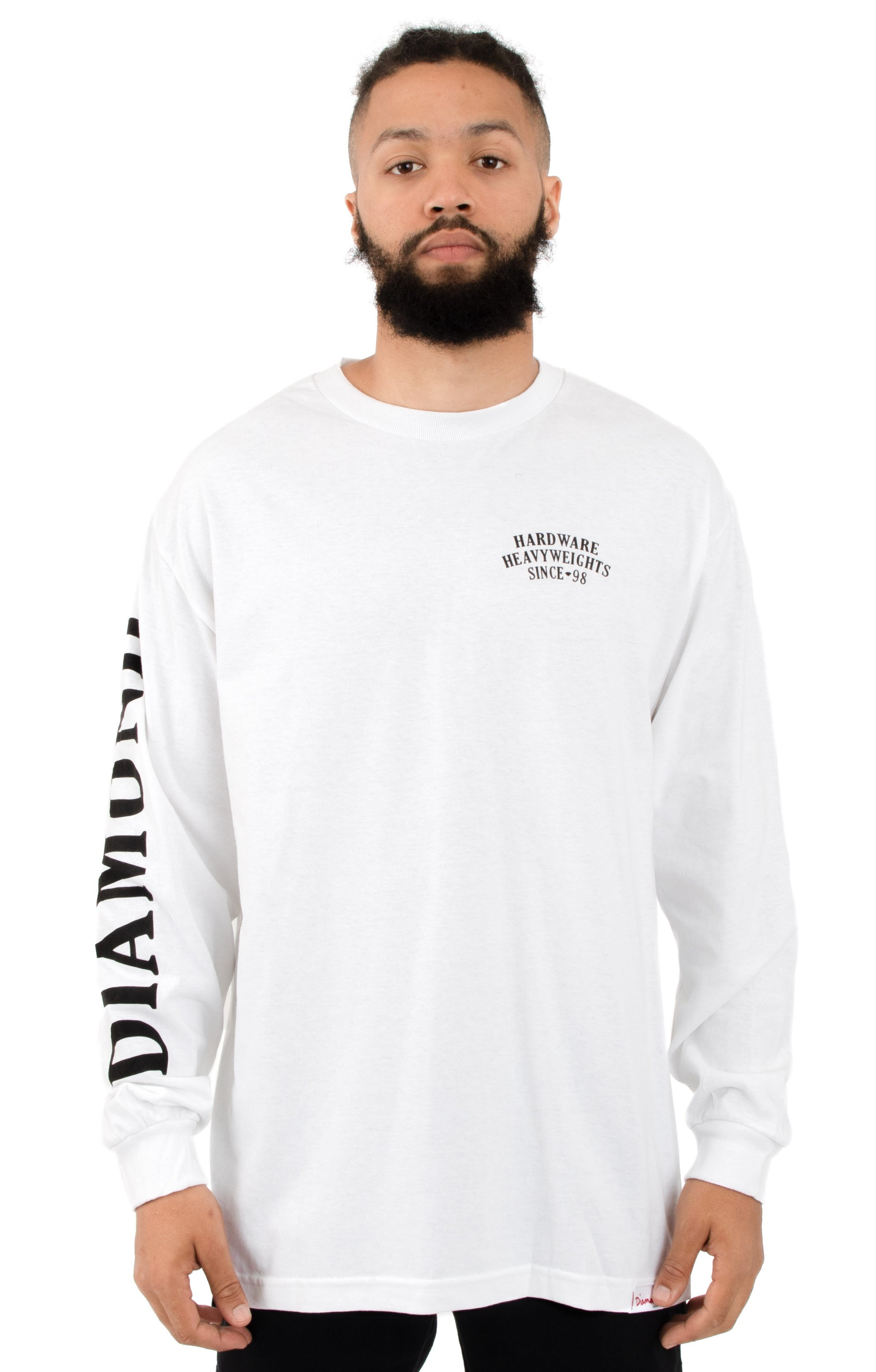Diamond Supply, Bulldogs L/S Shirt - White