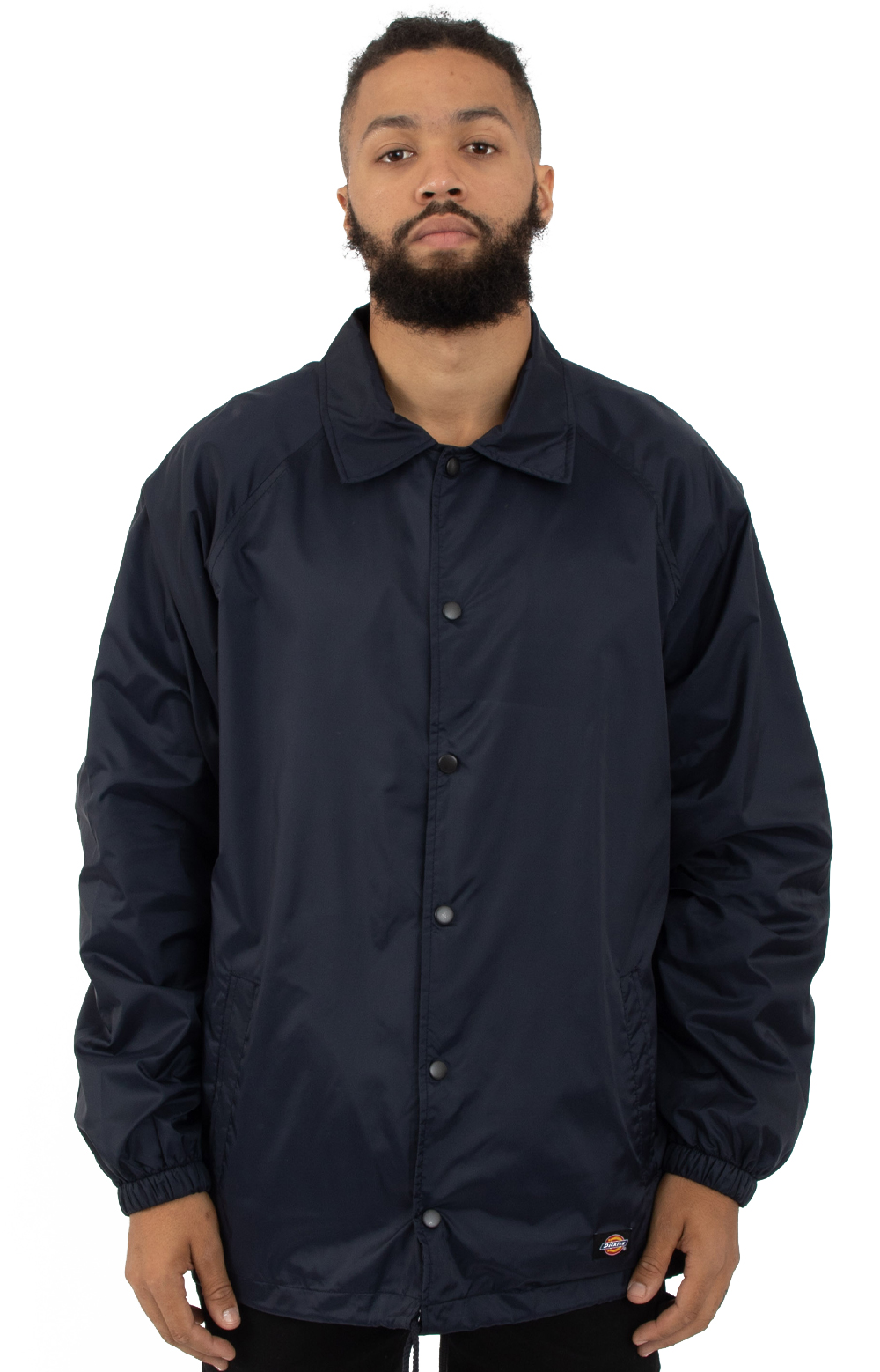 Snap Front Nylon Jacket - Navy