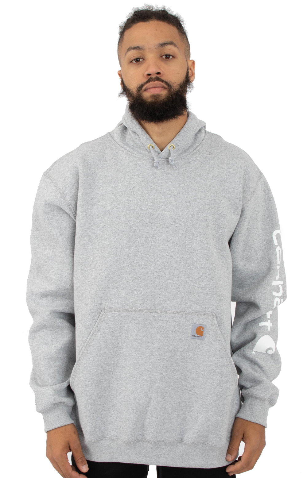 (K288) MW Signature Sleeve Logo Pullover Hoodie - Heather Grey