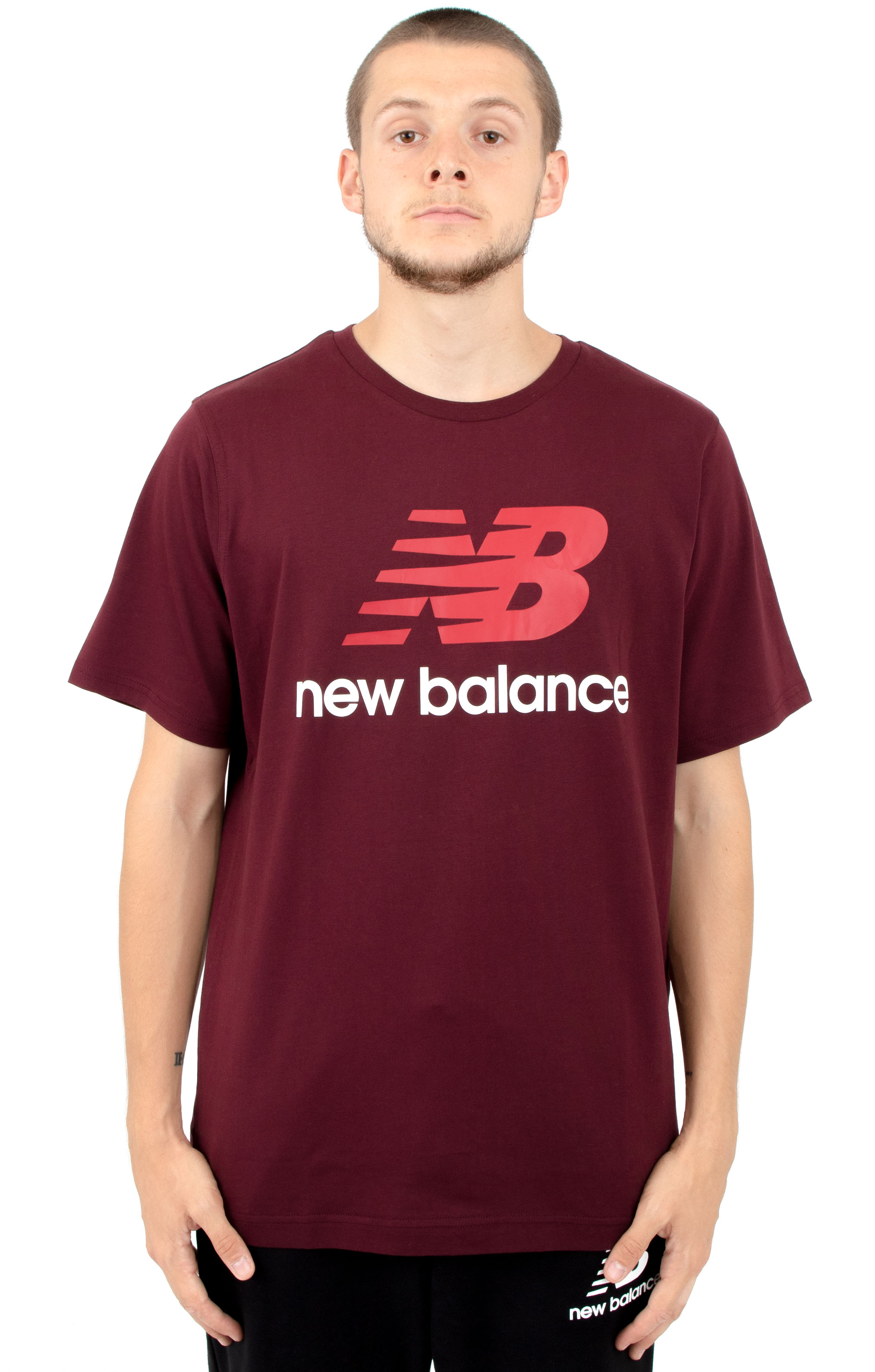 Essential Stacked Logo T-Shirt - Burgundy