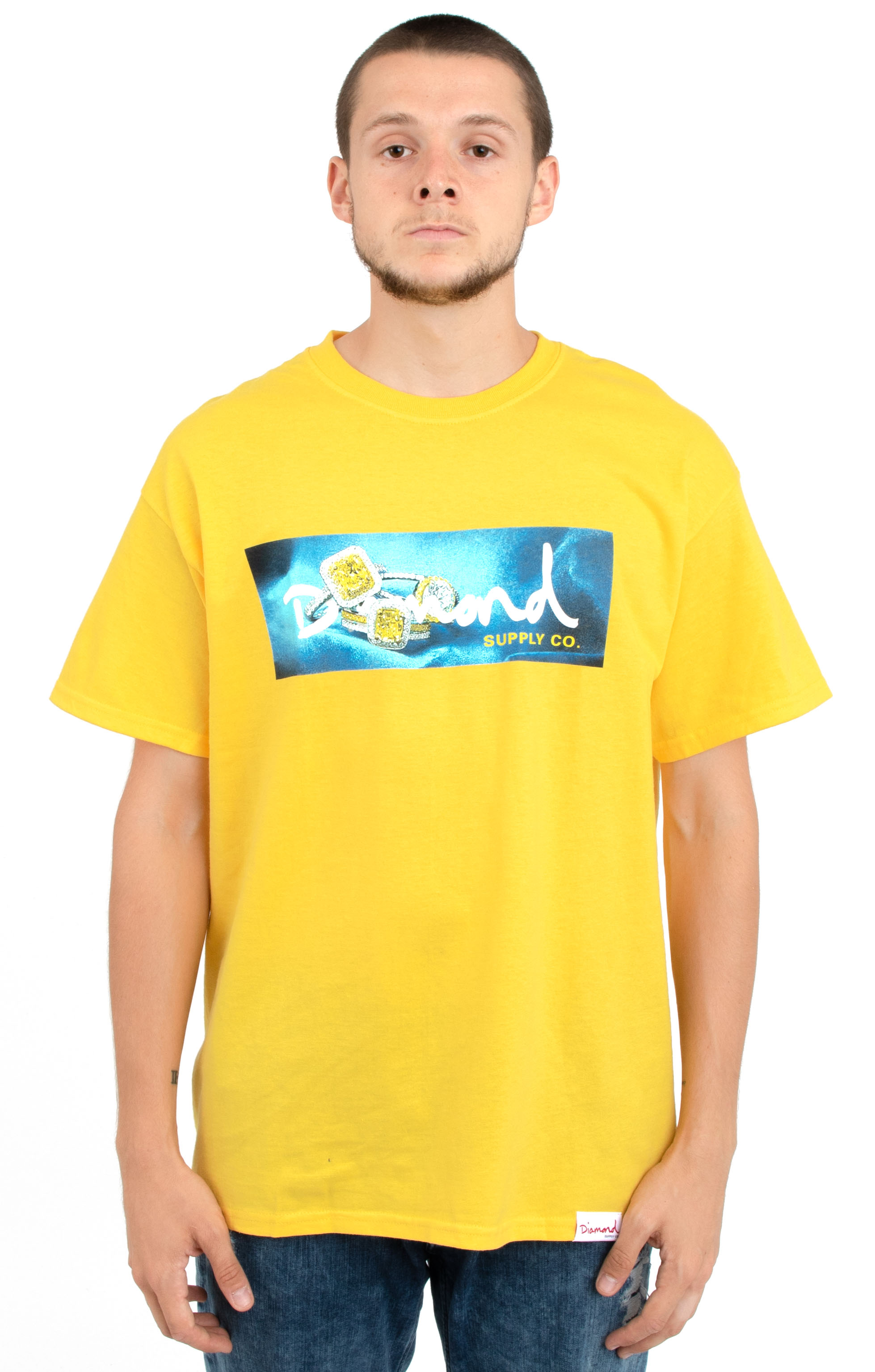 Diamond Supply, Citrine Box Logo T-Shirt - Yellow