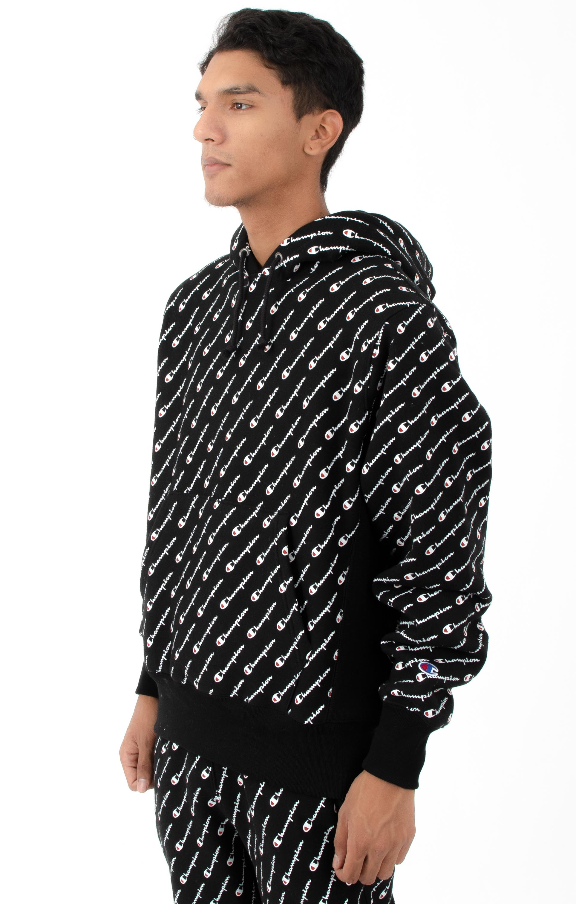 RW Diagonal All Over Print Pullover Hoodie - Black 2