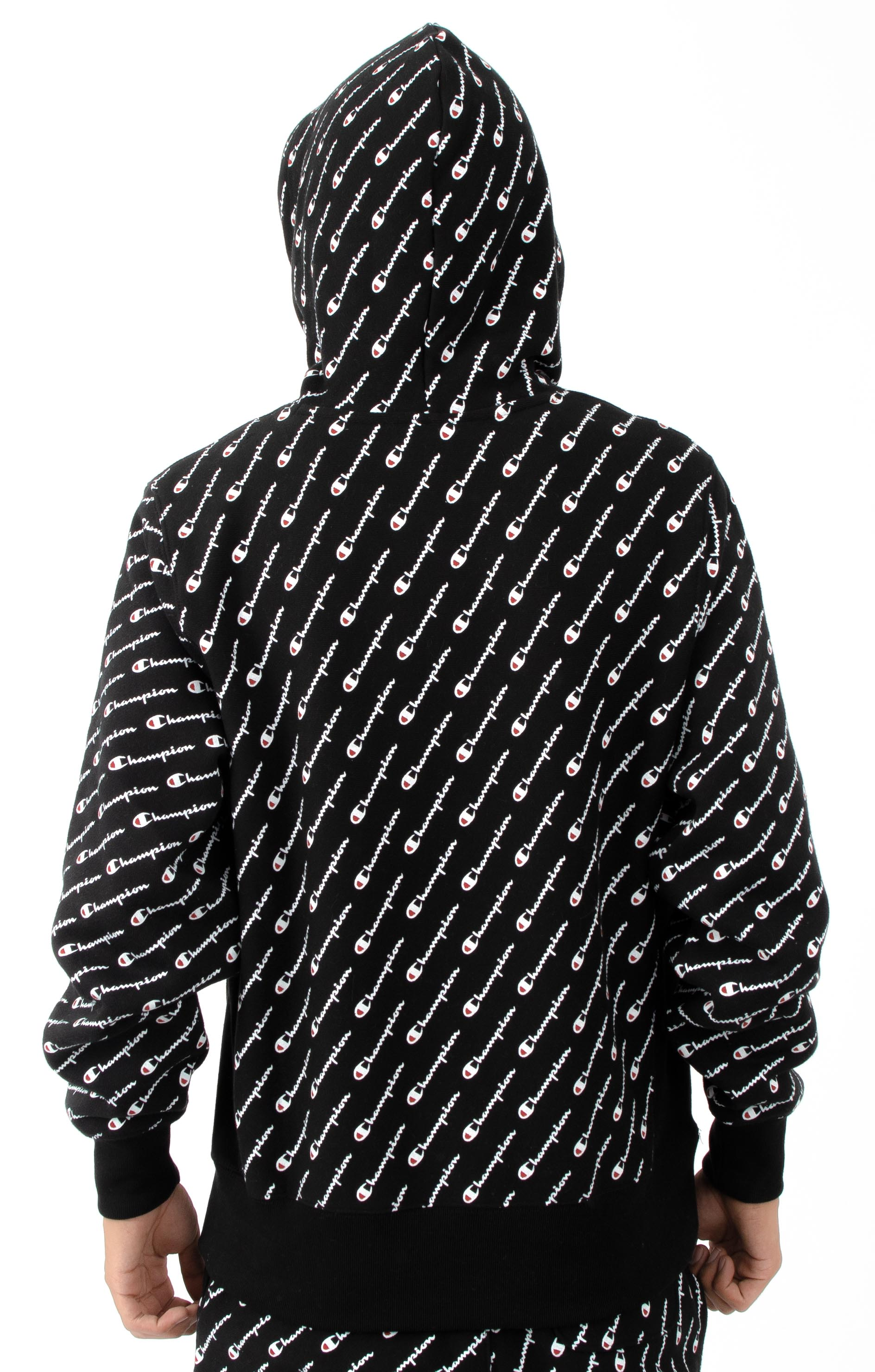RW Diagonal All Over Print Pullover Hoodie - Black 3