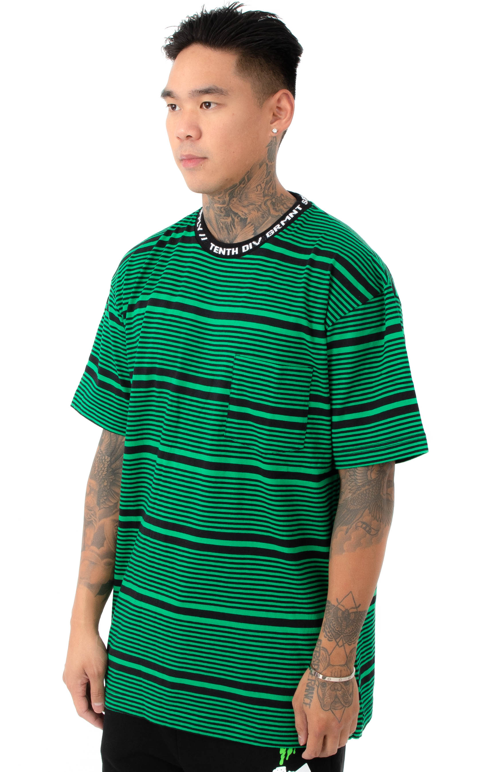 Foreigner Y/D Striped T-Shirt - Green 2