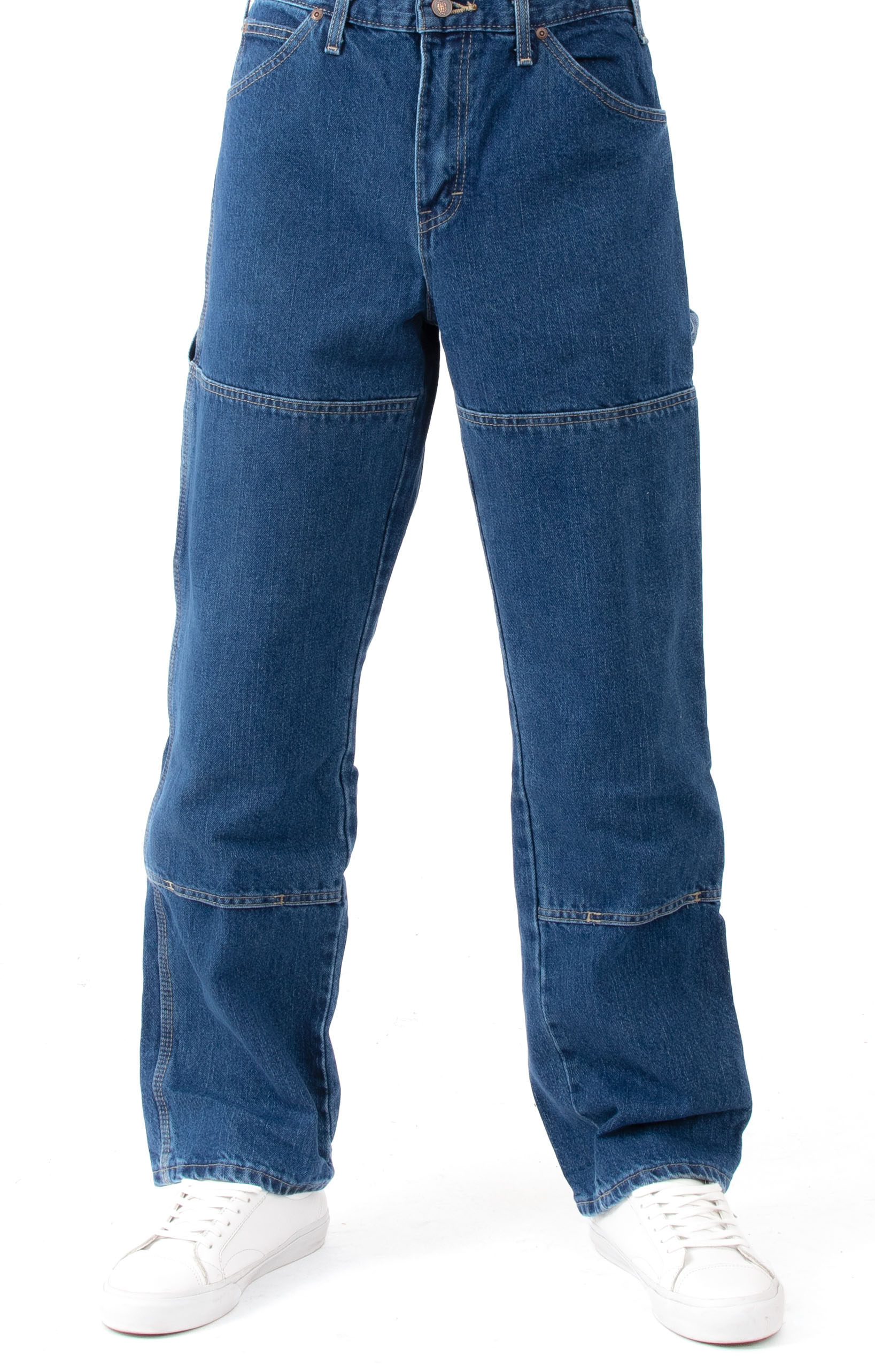(20694SNB) Relaxed Fit Double Knee Carpenter Denim Jeans - Stonewashed Indigo Blue 2
