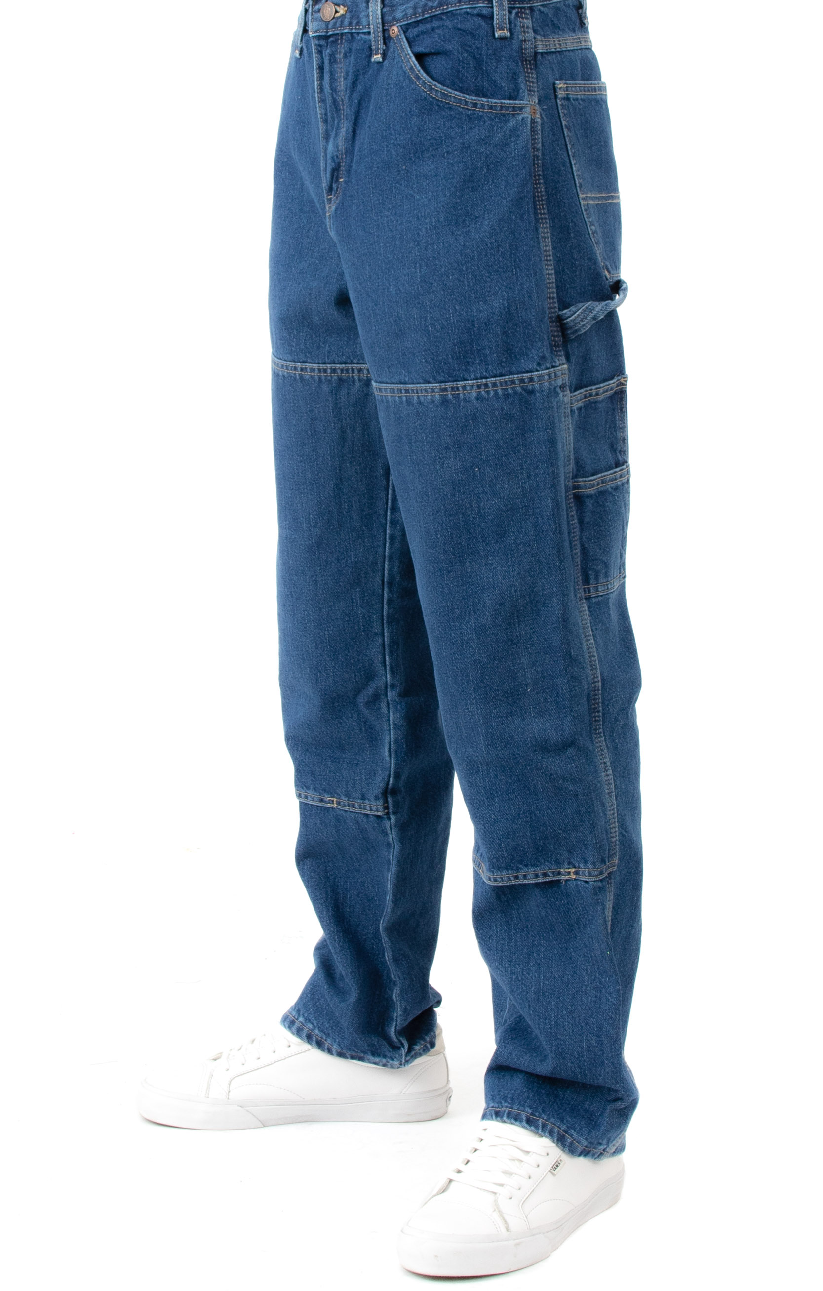 Relaxed Fit Double Knee Carpenter Denim Jeans - Stonewashed Indigo Blue