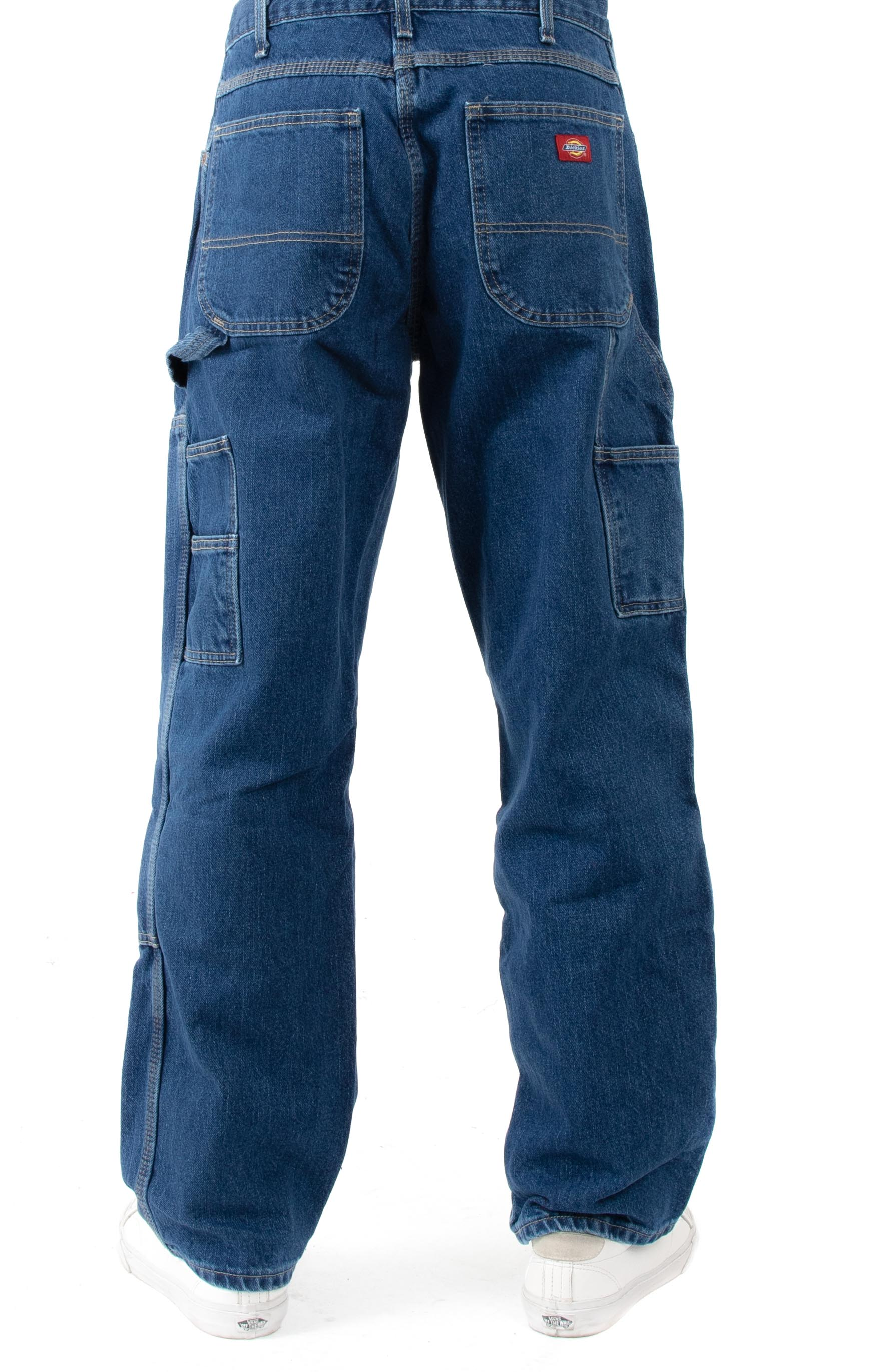 (20694SNB) Relaxed Fit Double Knee Carpenter Denim Jeans - Stonewashed Indigo Blue 3