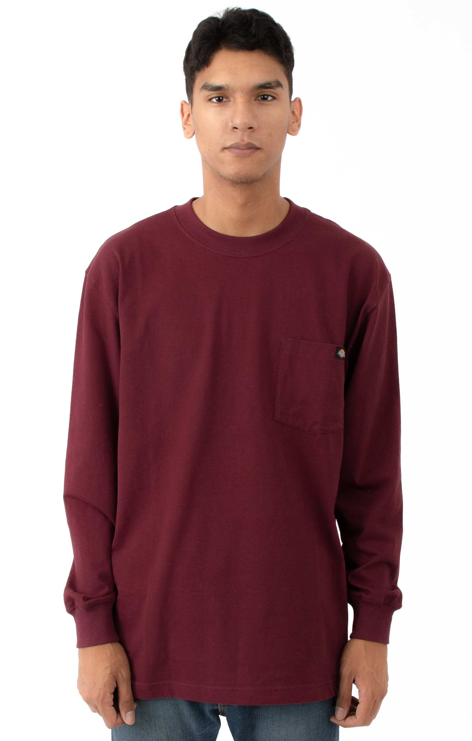 (WL450BY) Long Sleeve Heavyweight Crew Neck Shirt - Burgundy