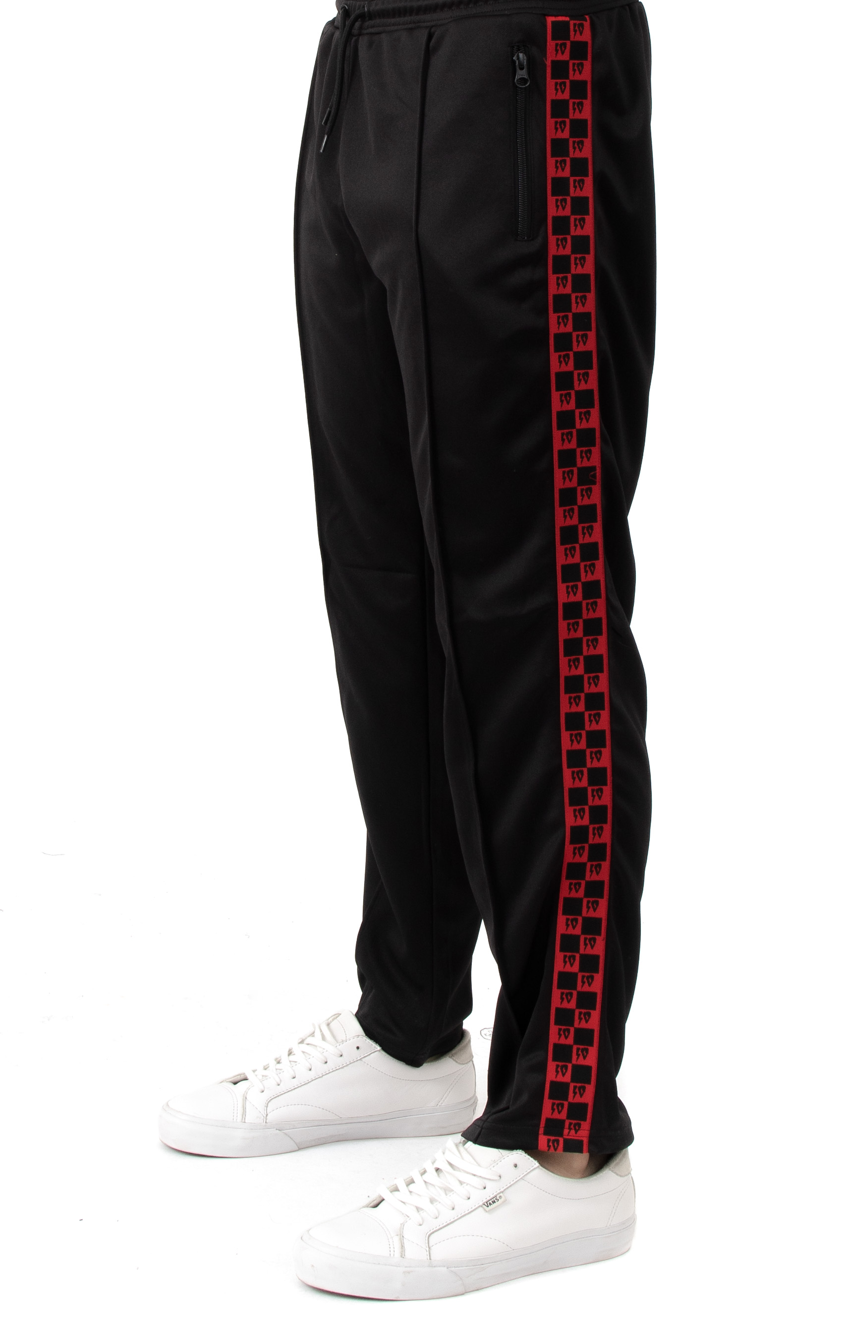 Checkered Flag Track Pant - Black