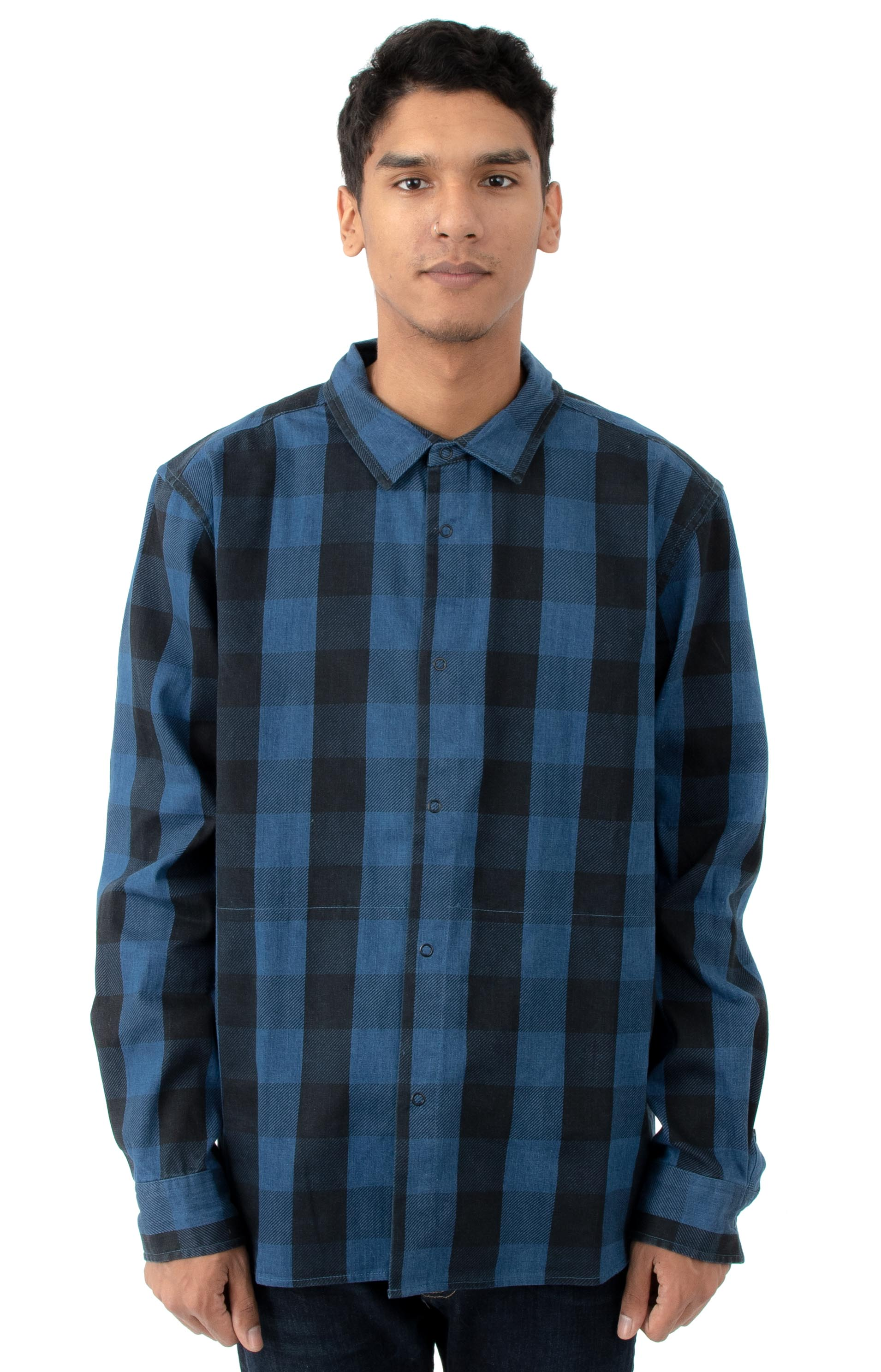 Primitive 77295 Indigo Check L/S Button-Up Shirt - Indigo