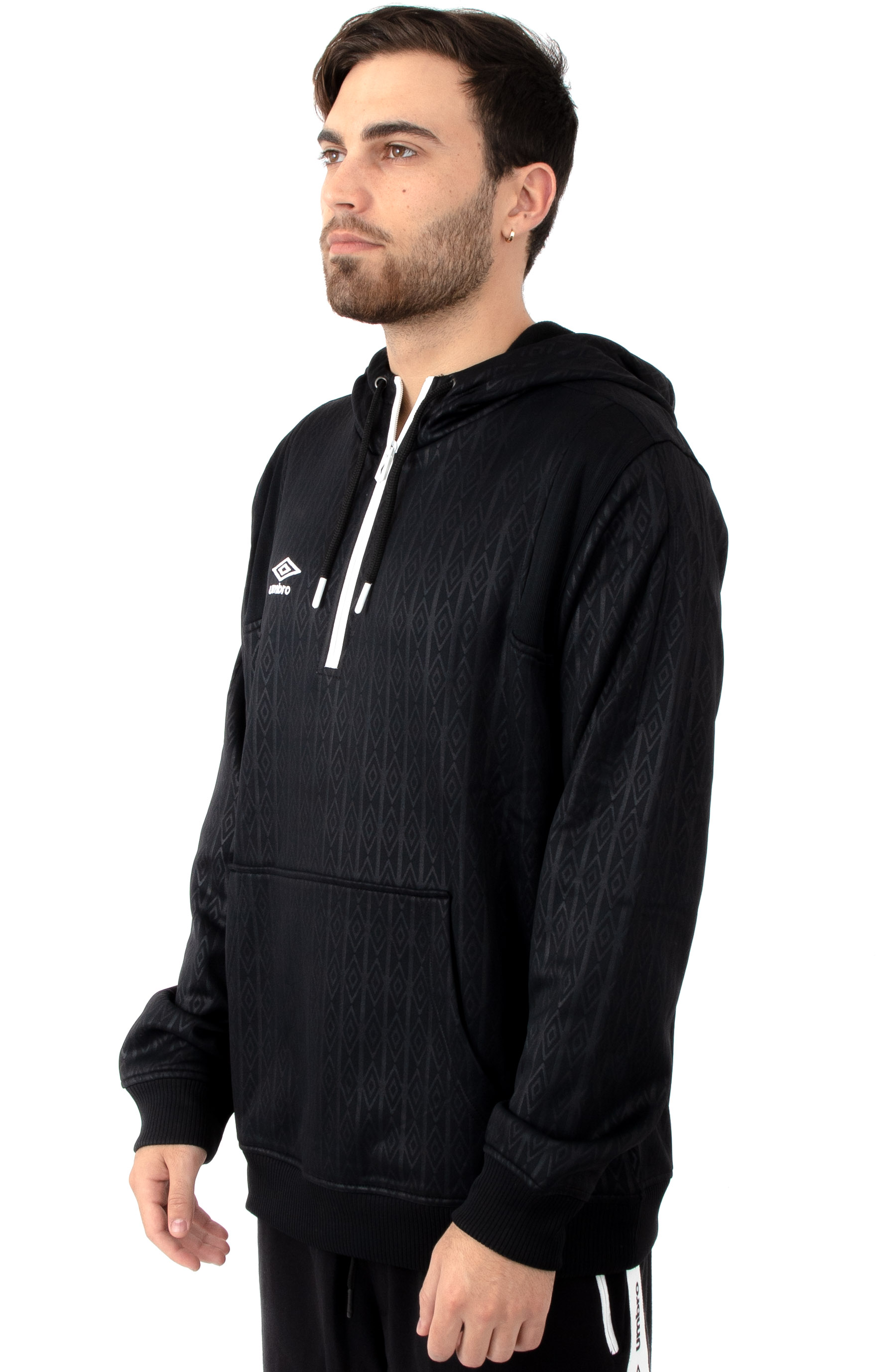 Goal Line Pullover Hoodie - Black/White 2